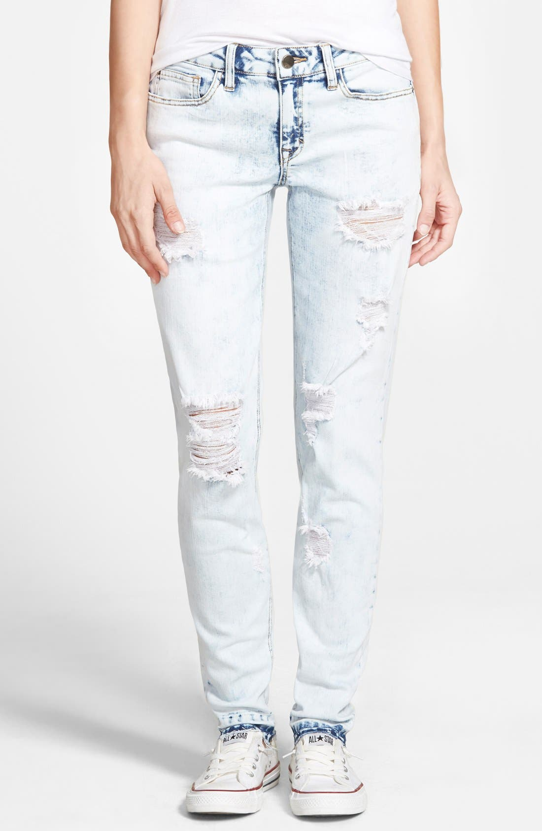 Alternate Image 1 Selected - SP Black 'Release Hem' Destroyed Skinny Jeans (Light Wash)