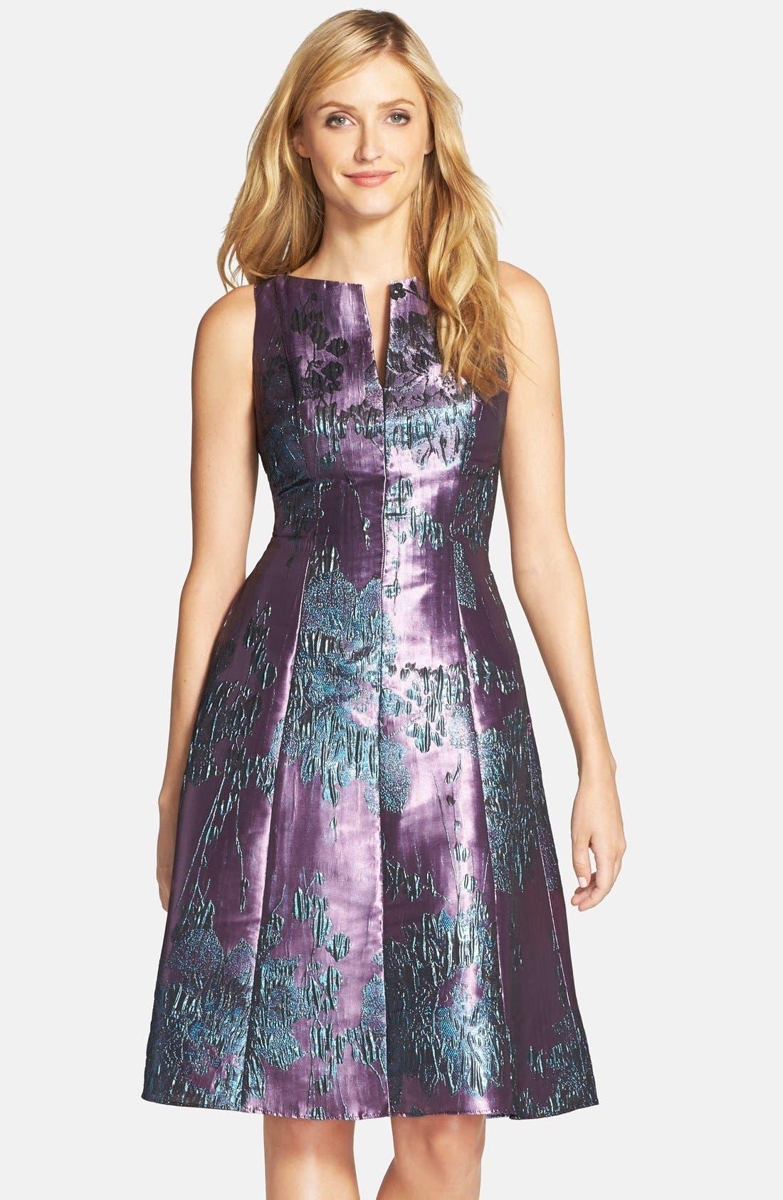Main Image - Adrianna Papell Metallic Jacquard Fit & Flare Dress (Regular & Petite)