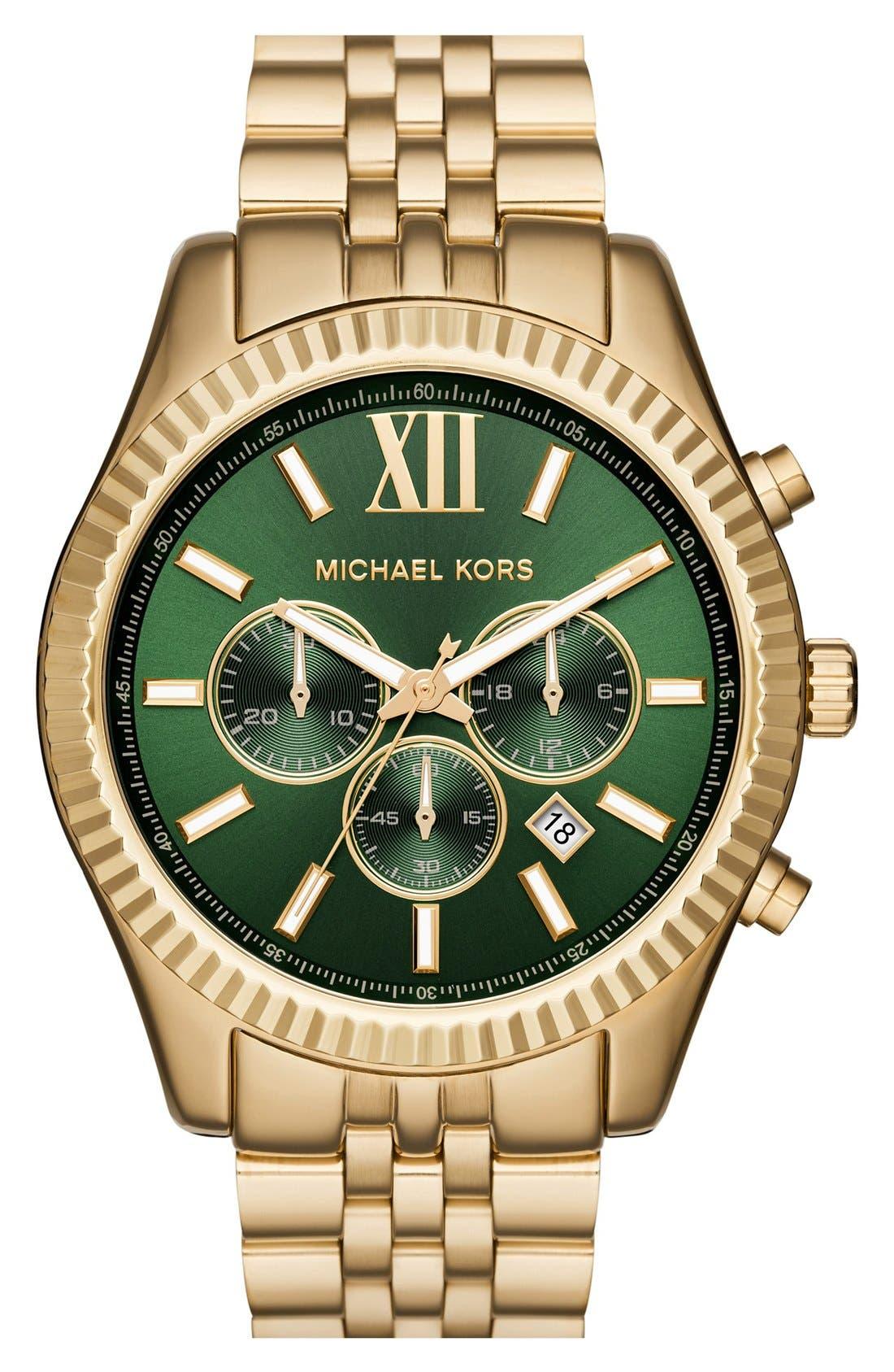 Main Image - MICHAEL Michael Kors 'Lexington' Chronograph Bracelet Watch, 44mm