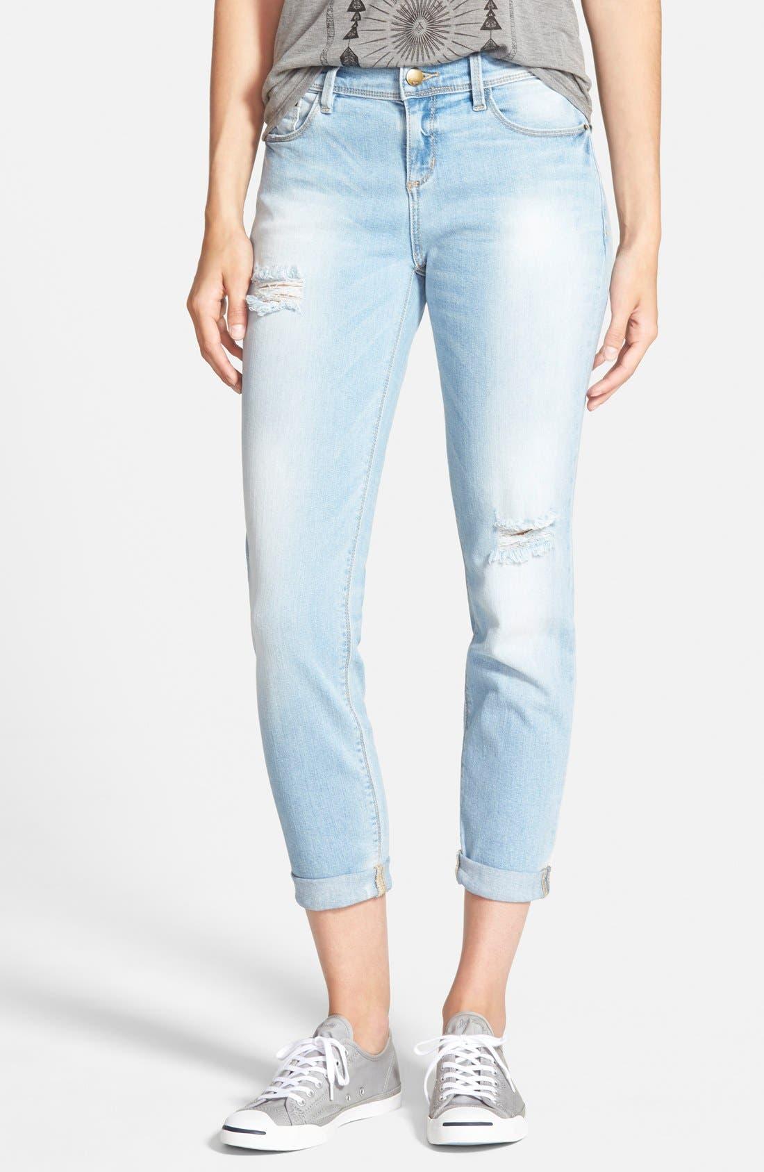 Main Image - SP Black Distressed Crop Skinny Jeans (Light Wash)