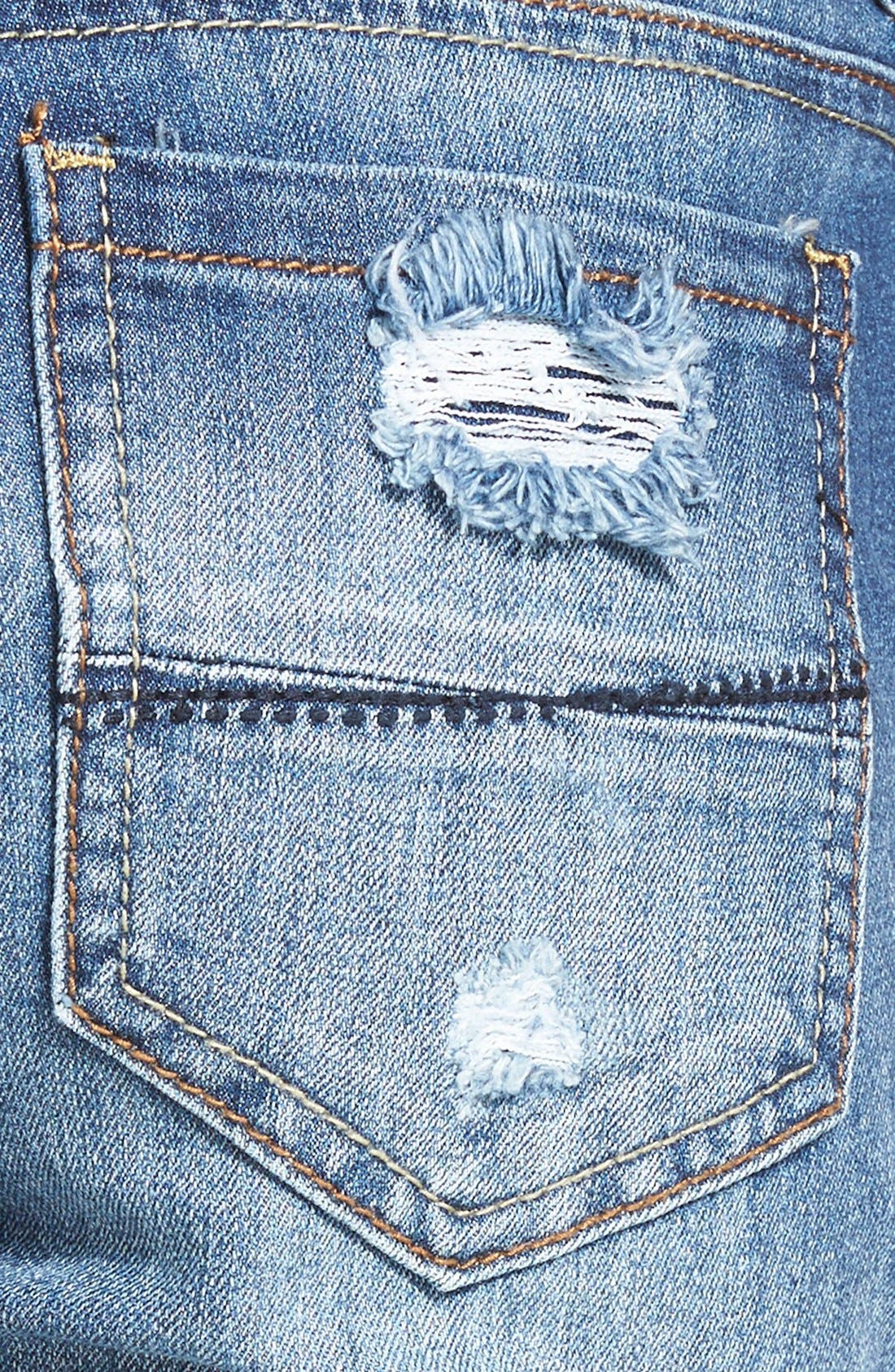Alternate Image 3  - Dollhouse Destroyed Skinny Jeans (Medium Wash)