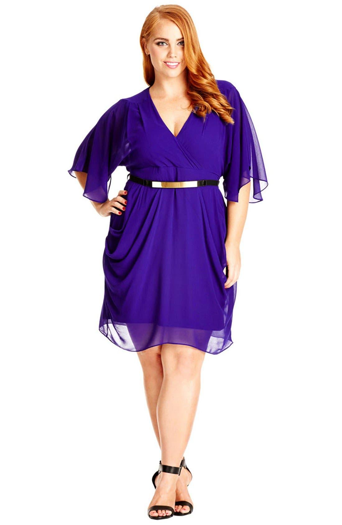 Main Image - City Chic 'Colour Wrap' Surplice Dress (Plus Size)