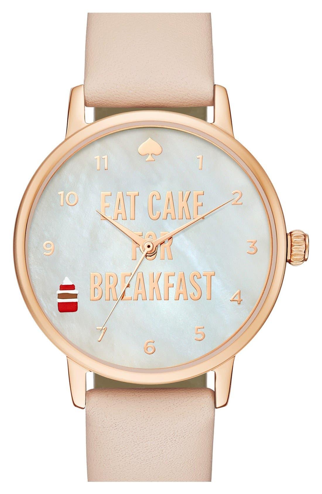 Main Image - kate spade new york 'metro - eat cake' leather strap watch, 34mm