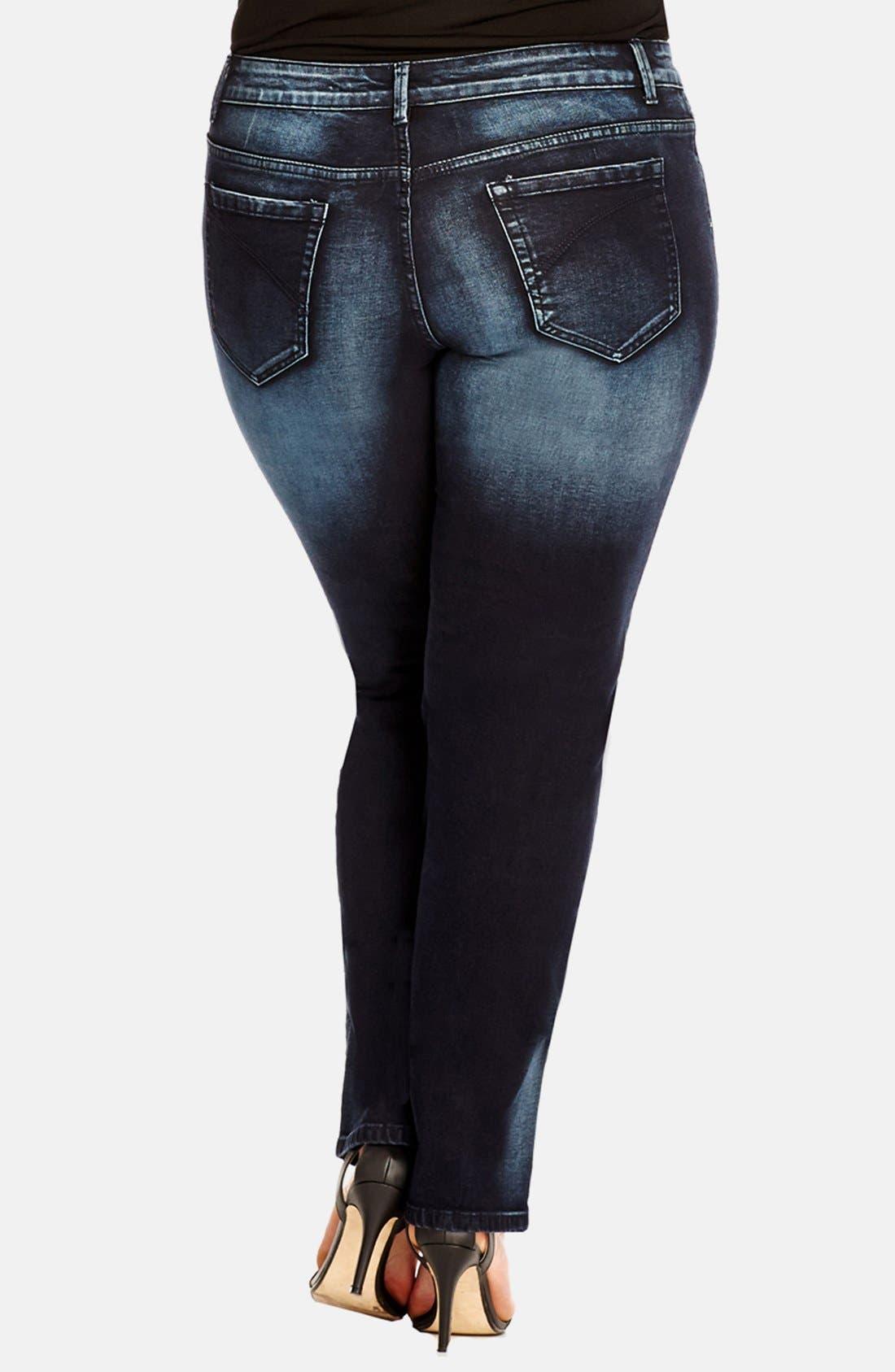 Alternate Image 2  - City Chic 'Stormy' Stretch Straight Leg Jeans (Dark) (Plus Size)