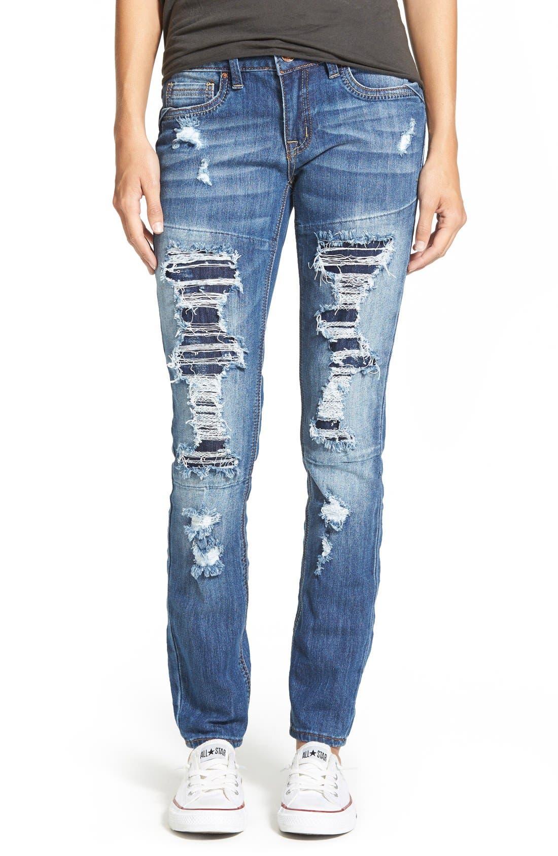 Alternate Image 1 Selected - Dollhouse Destroyed Skinny Jeans (Medium Wash)