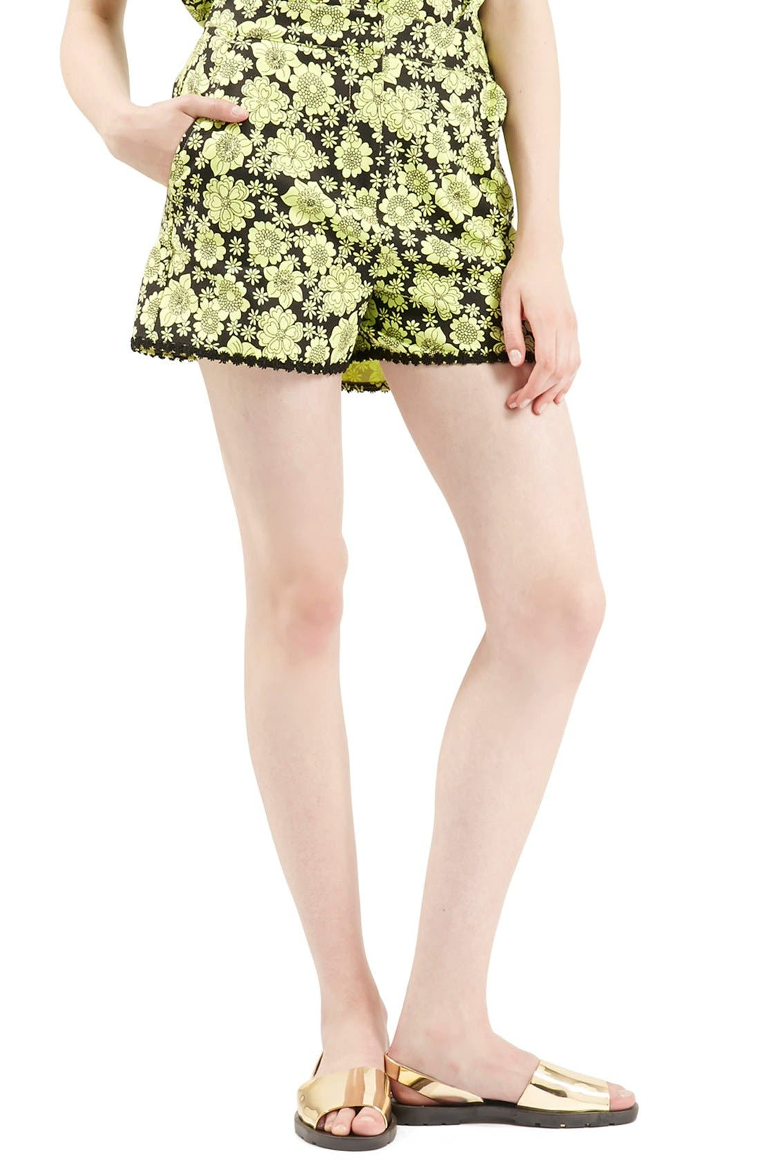 Main Image - Topshop Archive Collection ''60s Floral Psyche' High Rise Shorts