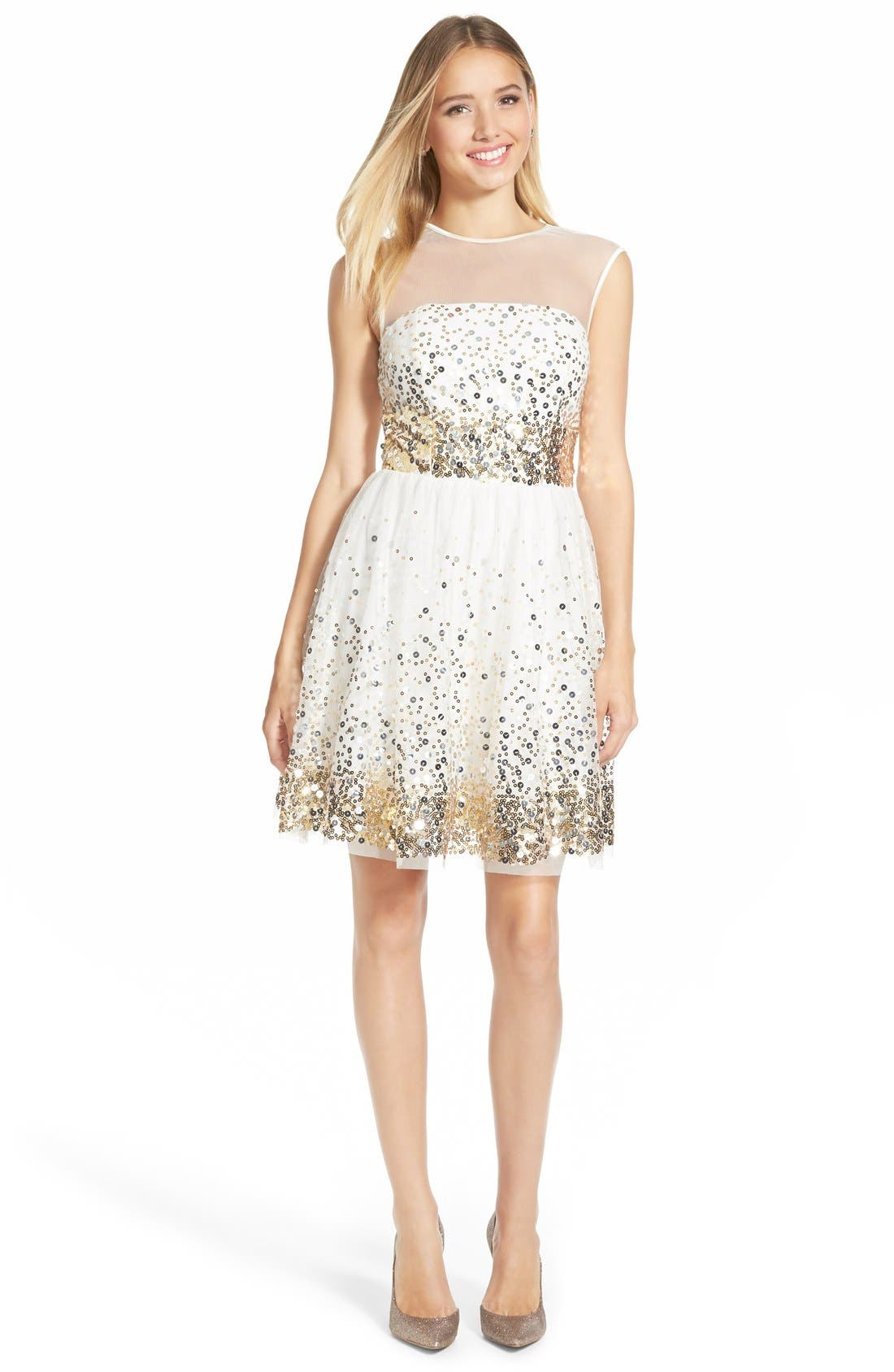 Main Image - Love, Nickie Lew 'Confetti' Sequin Skater Dress