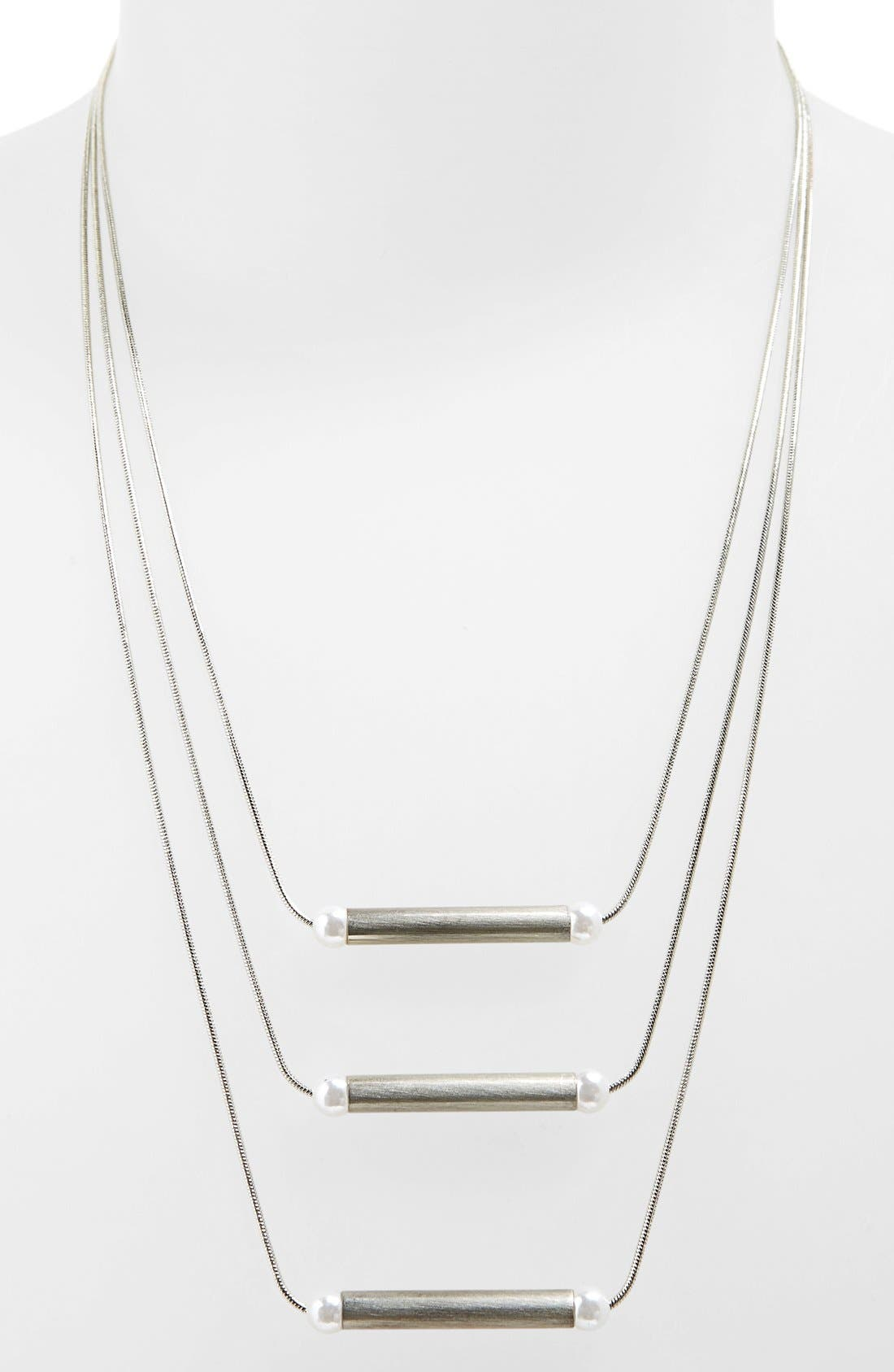 Alternate Image 1 Selected - Topshop Imitation Pearl Multi Row Necklace