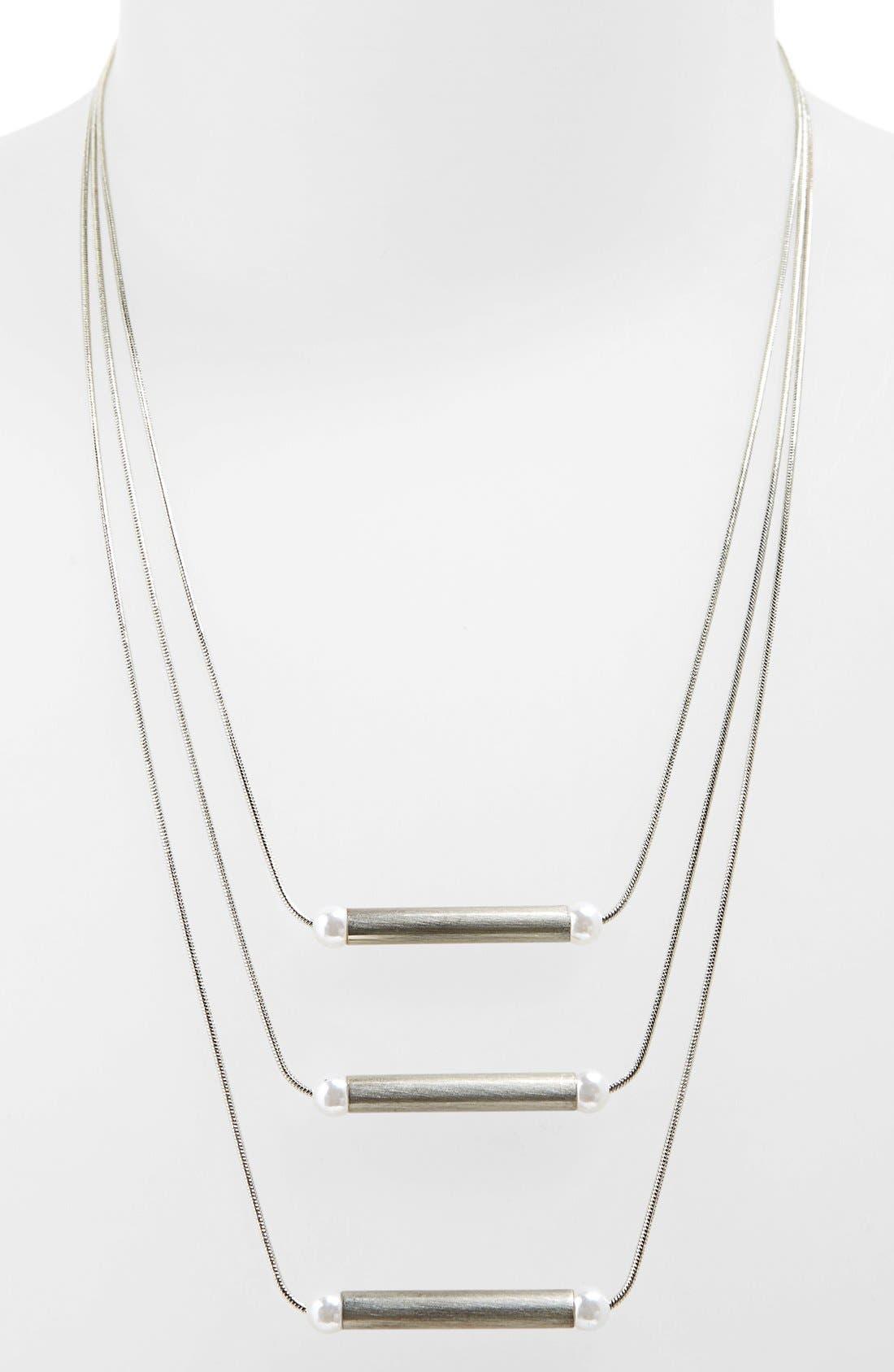 Main Image - Topshop Imitation Pearl Multi Row Necklace