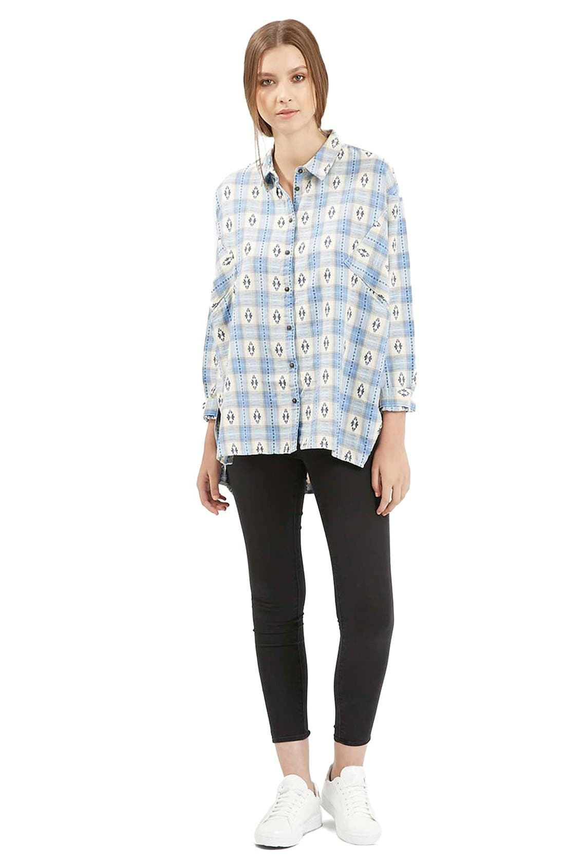 Alternate Image 2  - Topshop Southwestern Print Oversize Button Down Shirt