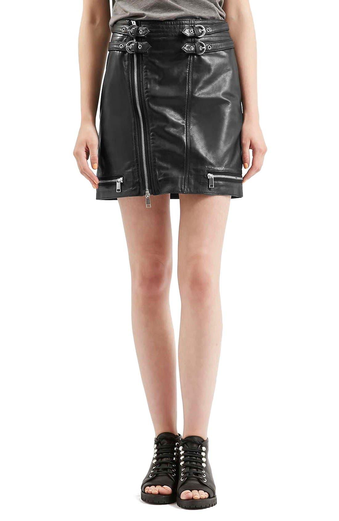 Main Image - Topshop Zip Leather Miniskirt