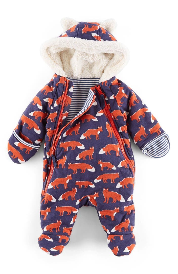 Mini boden fox print front zip snowsuit baby boys for Shop mini boden