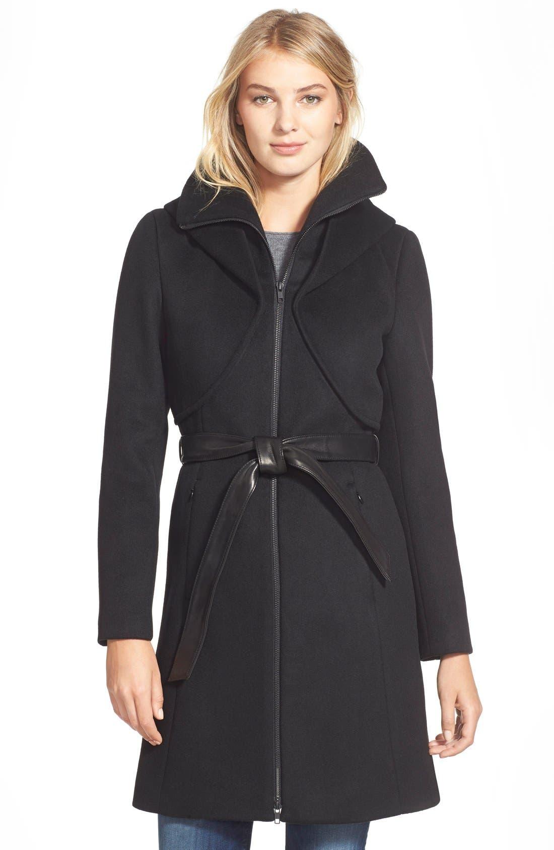 Main Image - Soia & Kyo 'Arya' Hooded Wool Blend Coat with Belt