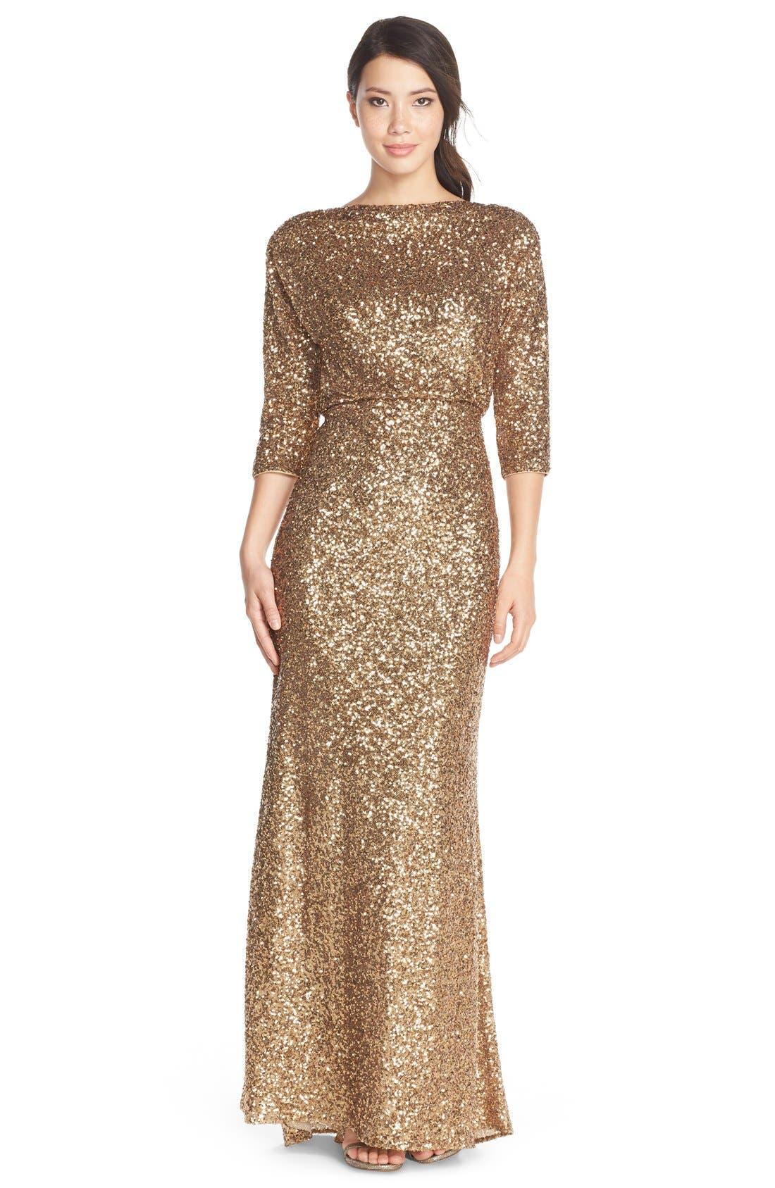 Main Image - Badgley Mischka Sequin Blouson Gown