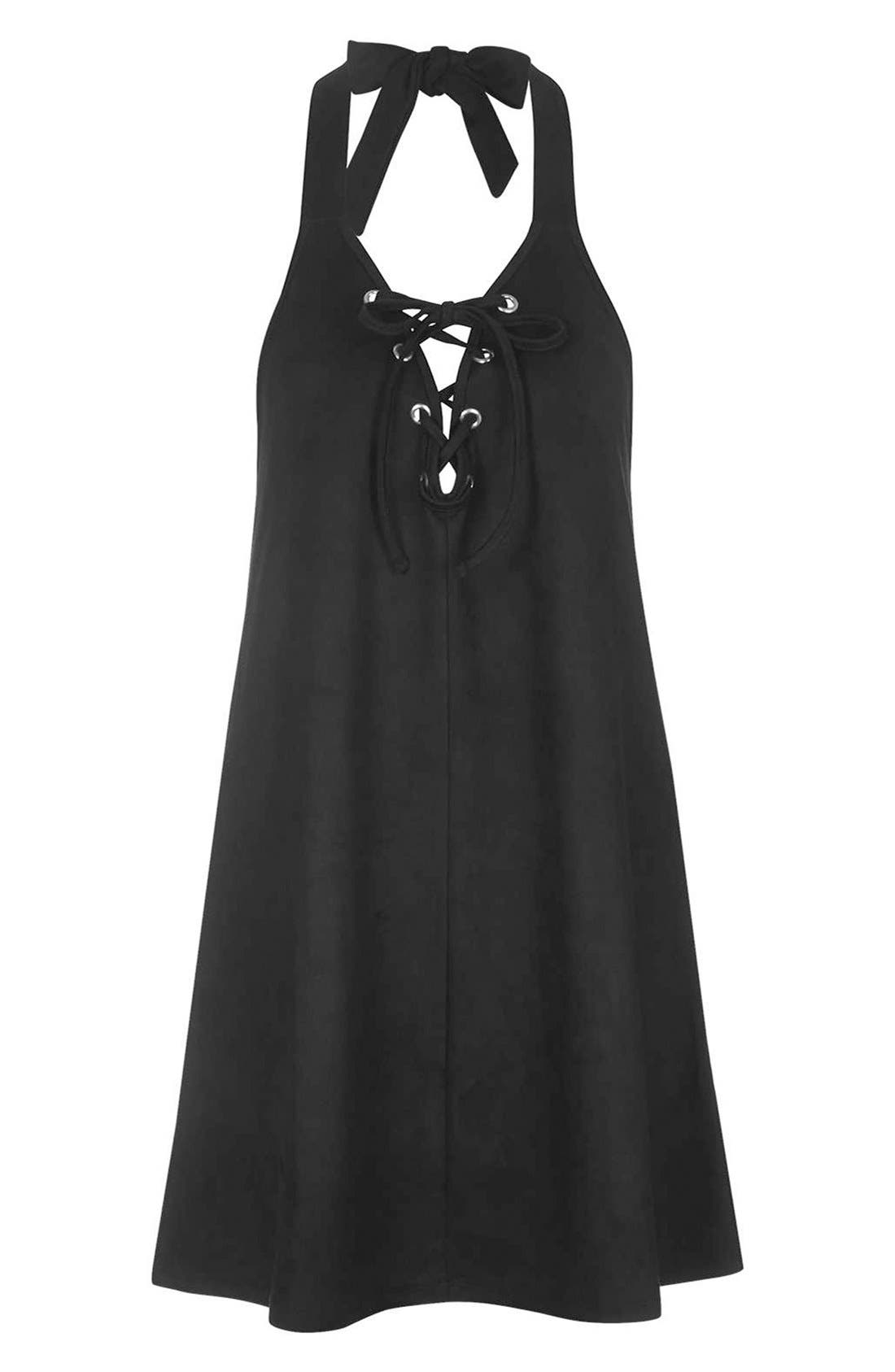Alternate Image 3  - Topshop Faux Suede Lace Up Halter Dress