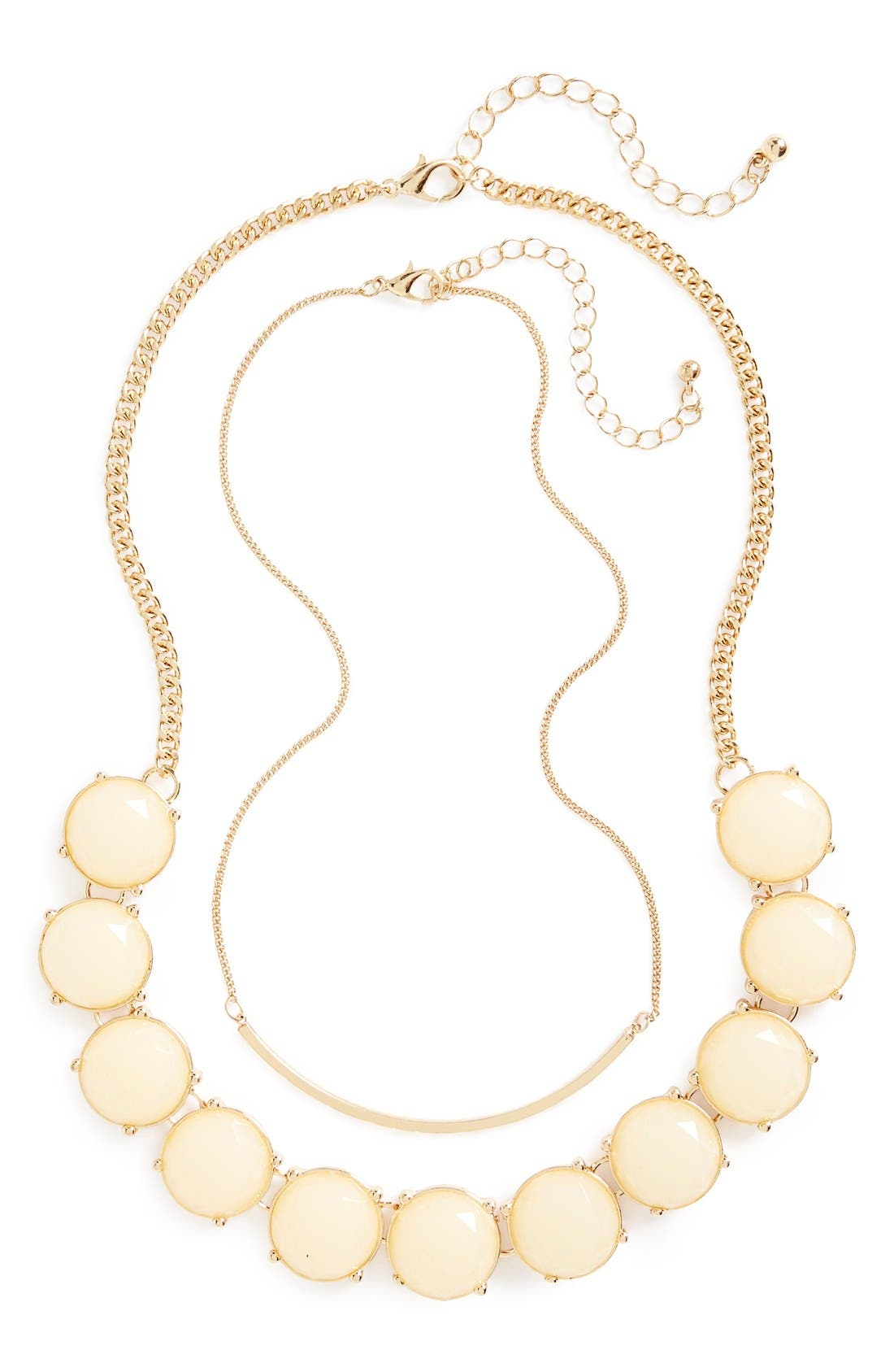 Alternate Image 1 Selected - BP. Bar & Round Stone Layered Necklaces (Set of 2)