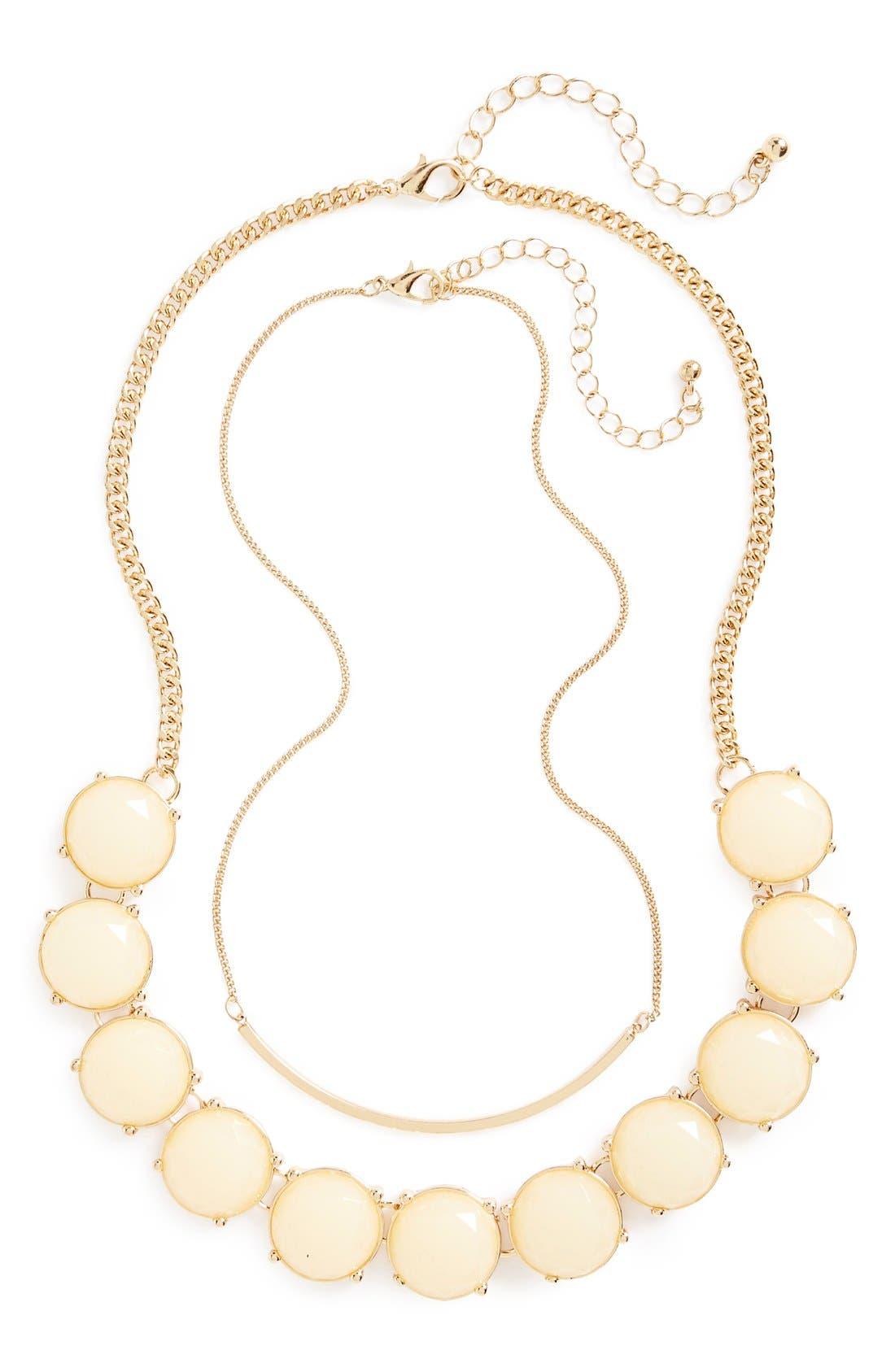Main Image - BP. Bar & Round Stone Layered Necklaces (Set of 2)