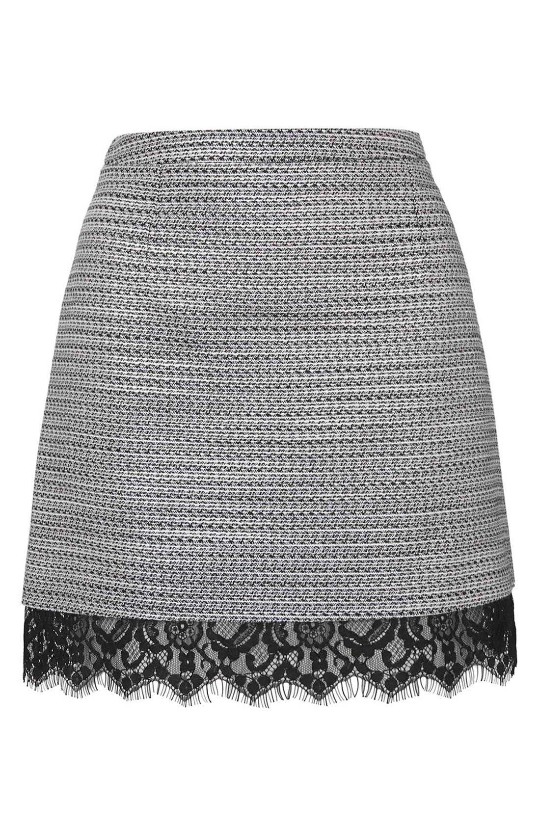Alternate Image 4  - Topshop Lace Hem Bouclé A-Line Skirt