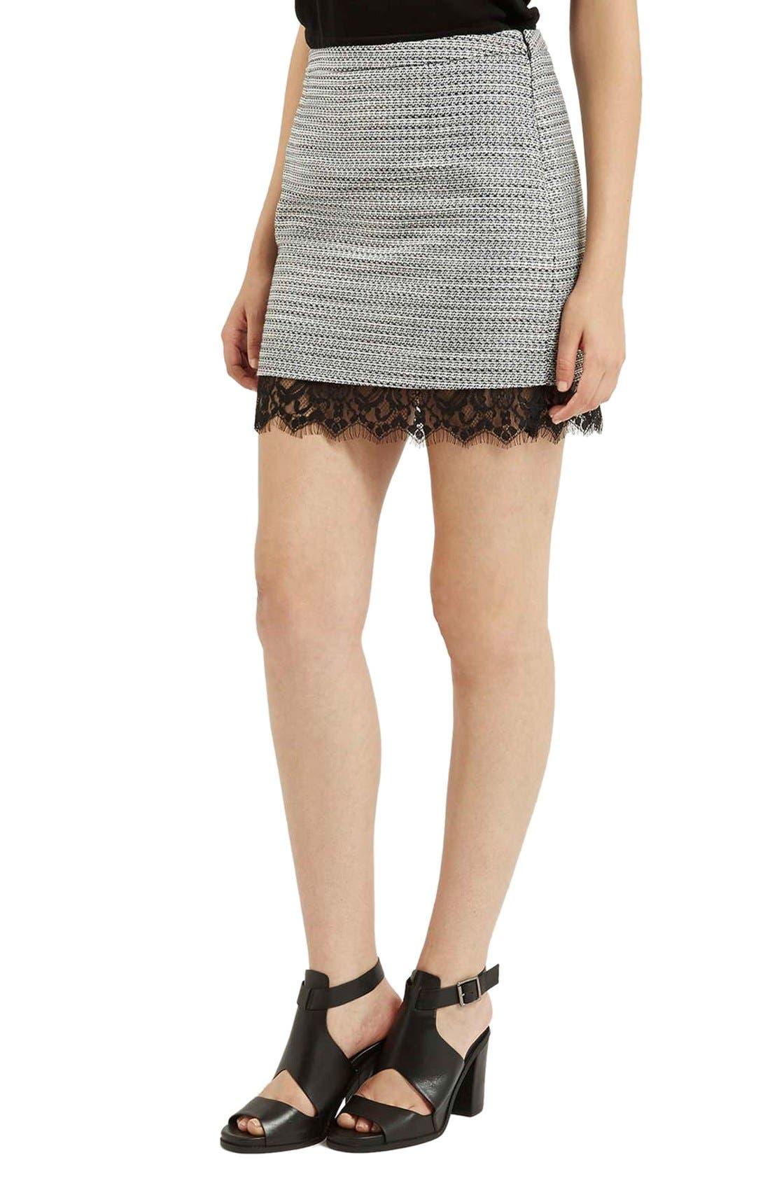 Main Image - Topshop Lace Hem Bouclé A-Line Skirt