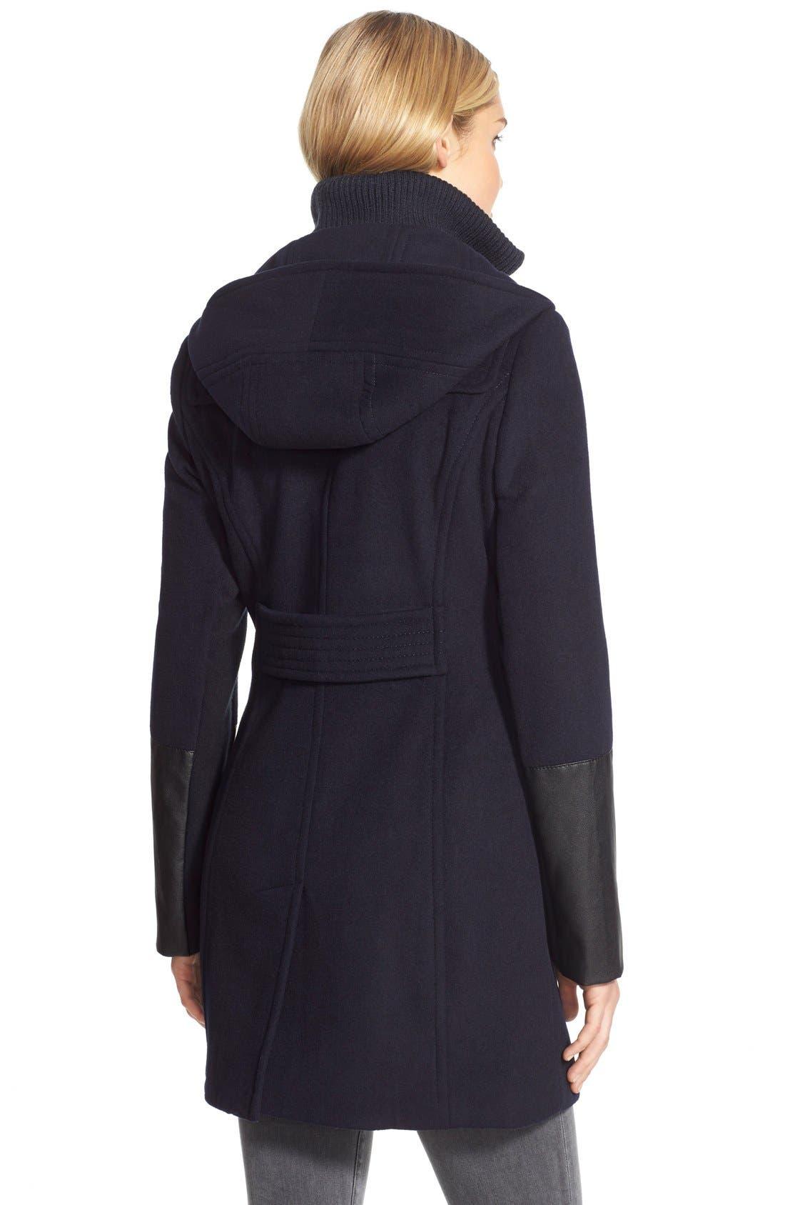 Alternate Image 2  - BCBGMAXAZRIA Faux Leather Trim Wool Blend Duffle Coat with Inset Bib