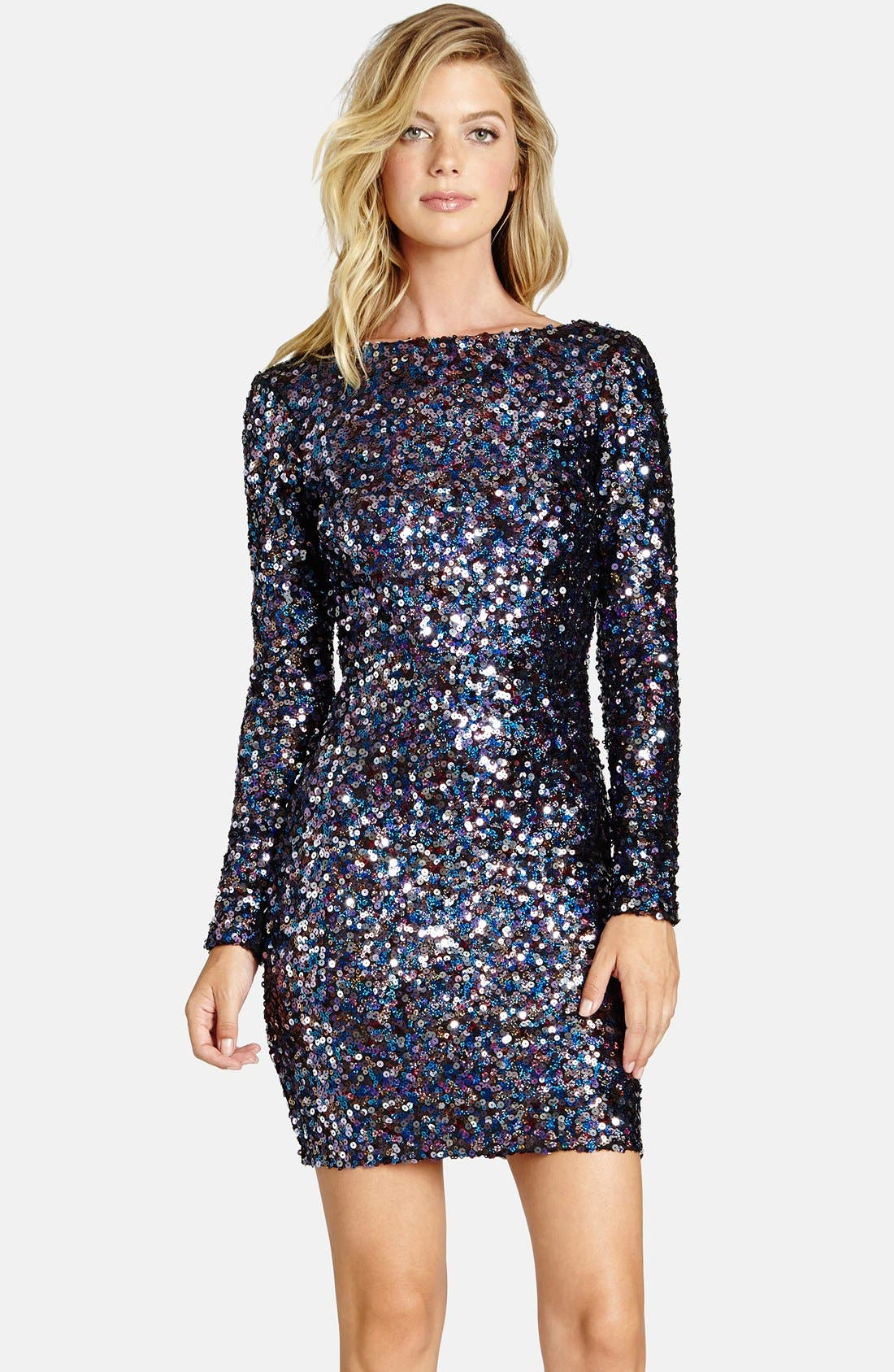 Main Image - Dress the Population 'Lola City Lights' Backless Sequin Minidress