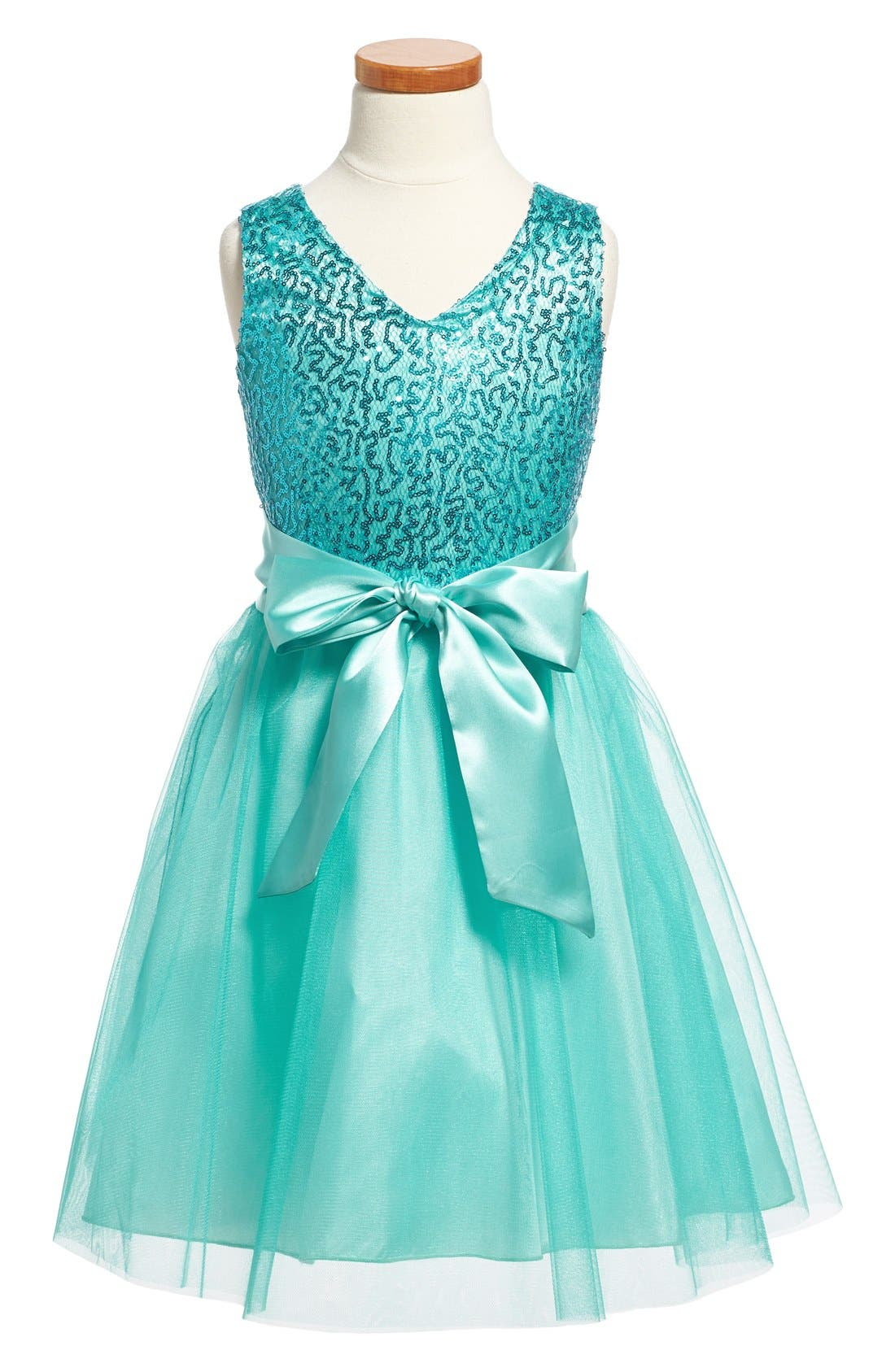Main Image - Un Deux Trois Sequin Tulle Dress (Big Girls)
