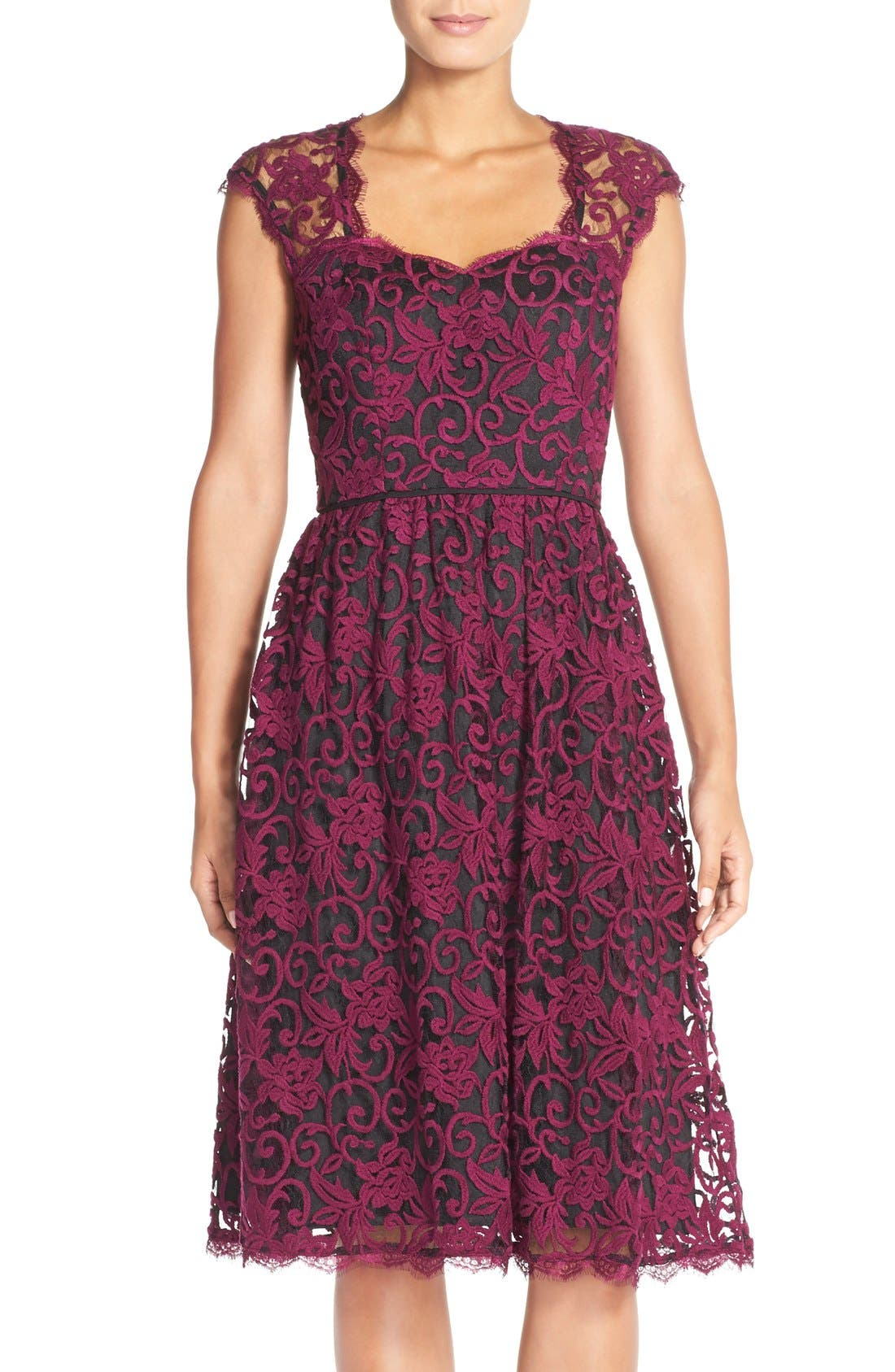 Main Image - Adrianna PapellIllusion Lace Fit & Flare Dress