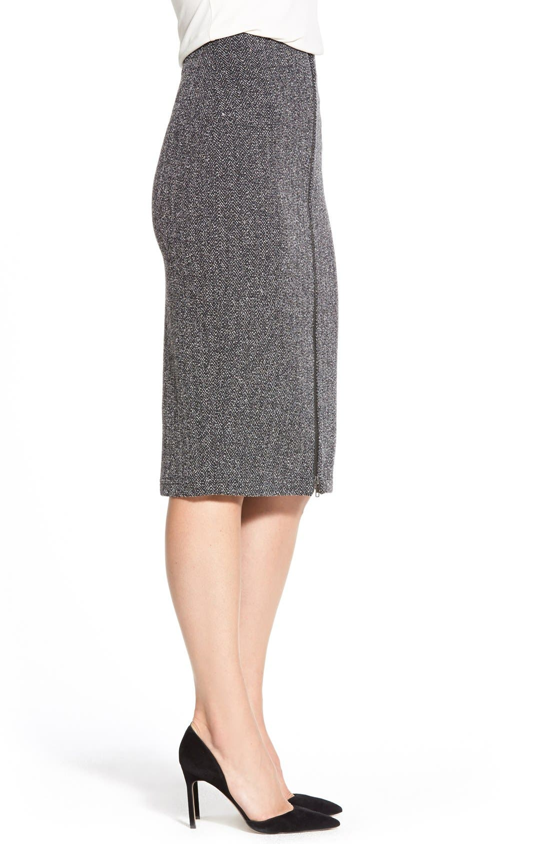 Alternate Image 3  - Halogen® Zip Front Stretch Knit Pencil Skirt (Regular & Petite)