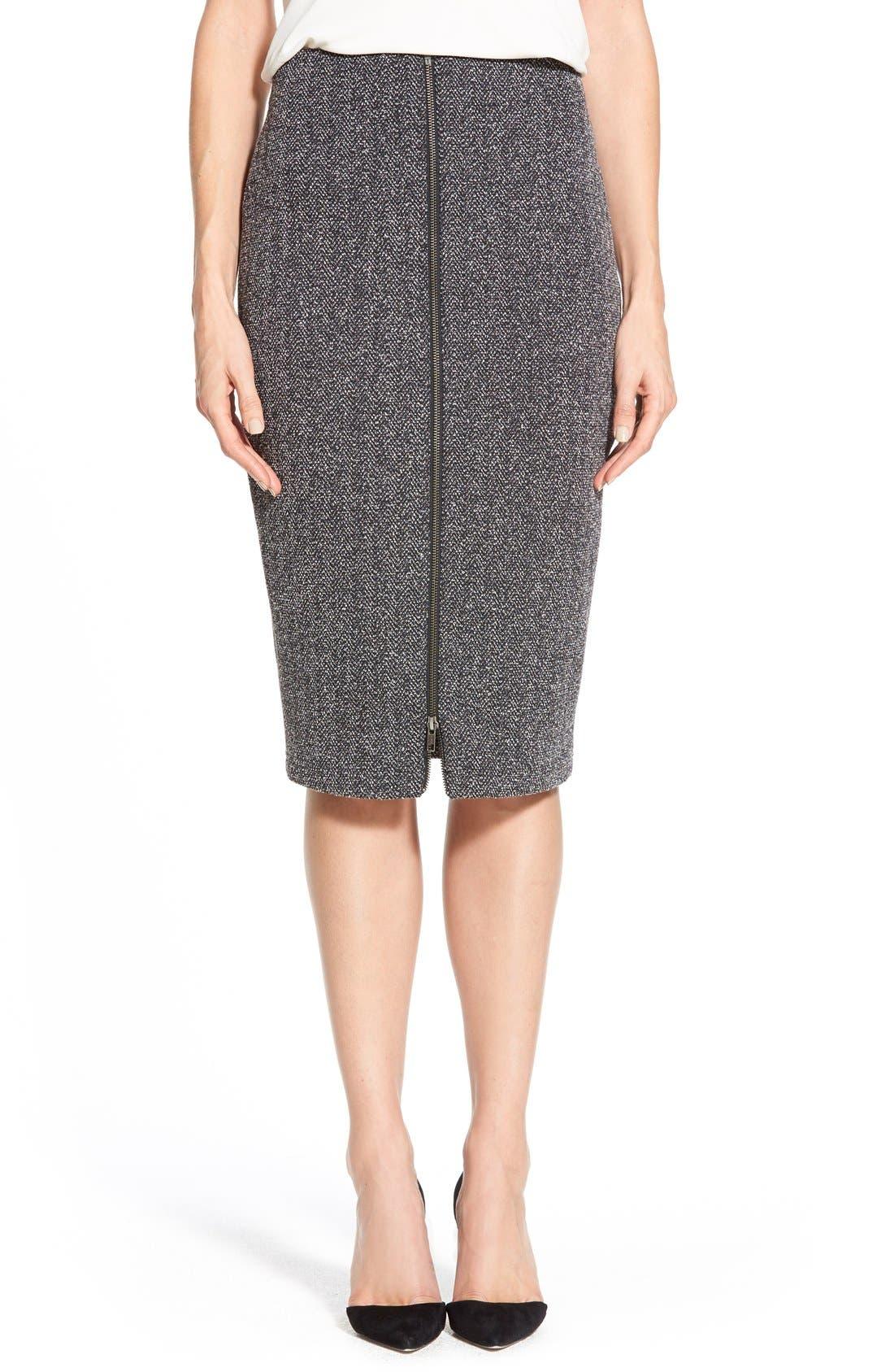 Alternate Image 1 Selected - Halogen® Zip Front Stretch Knit Pencil Skirt (Regular & Petite)