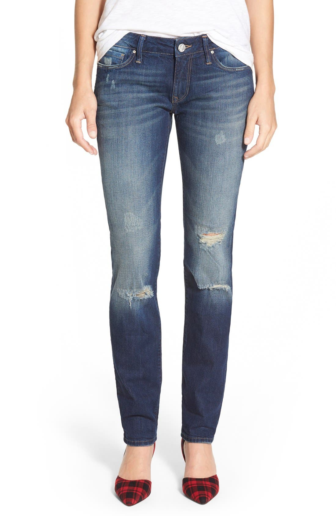 Alternate Image 1 Selected - Mavi Jeans 'Emma' Stretch Slim Boyfriend Jeans (Dark Ripped Authentic)