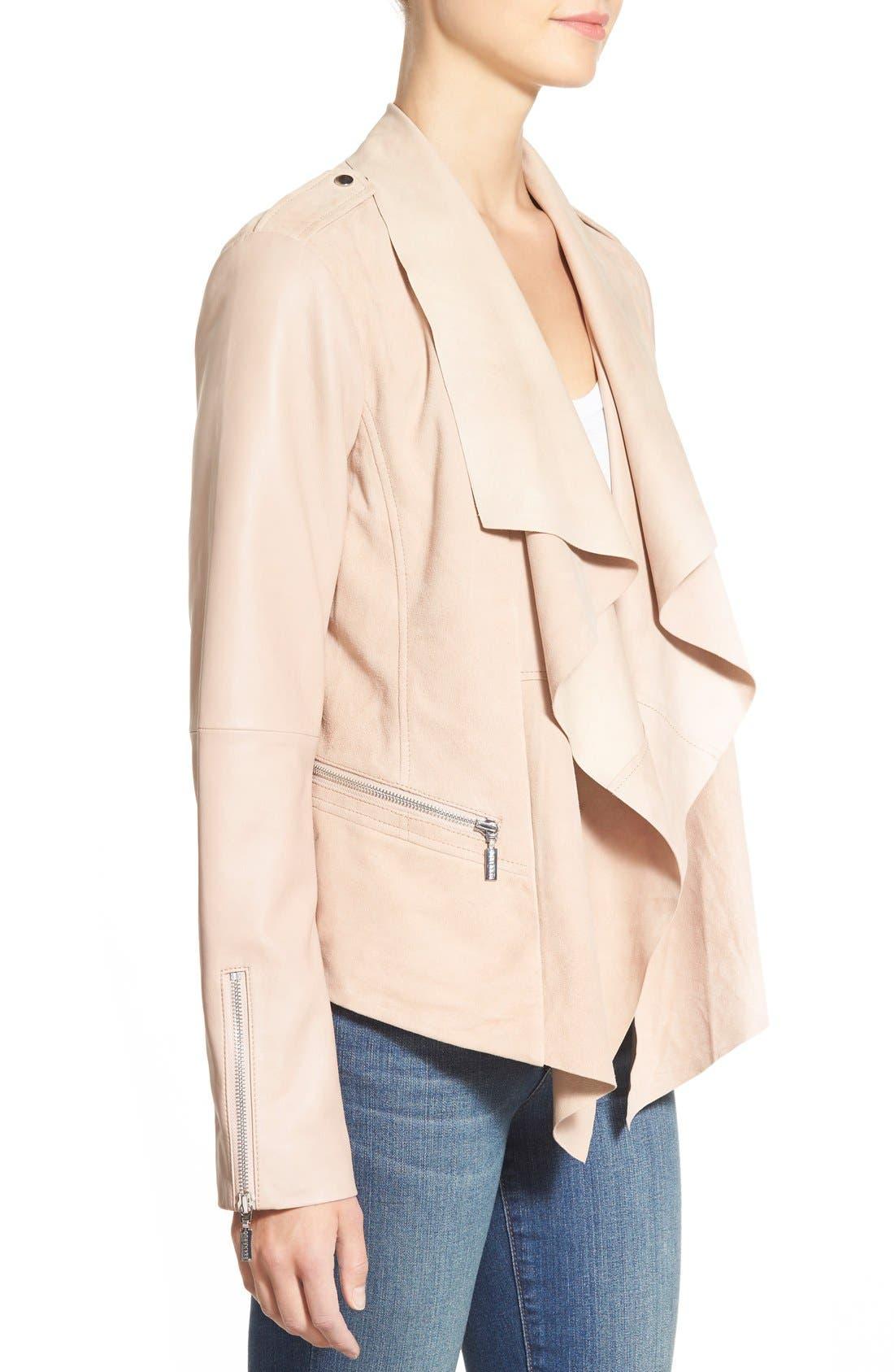 Alternate Image 3  - Bernardo Drape Front Suede & Leather Jacket
