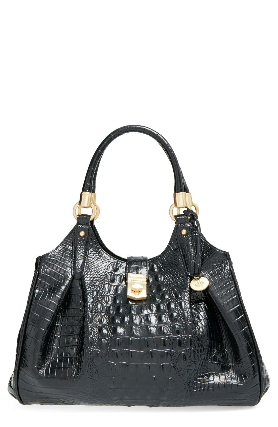 Alternate Image 1 Selected - Brahmin Elisa Croc Embossed Leather Shoulder Bag