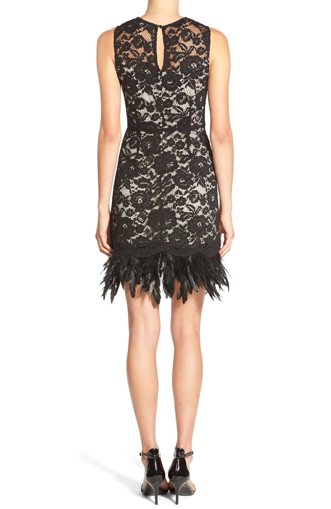 Alternate Image 2  - Soloiste Feather Hem Lace Body-Con Dress