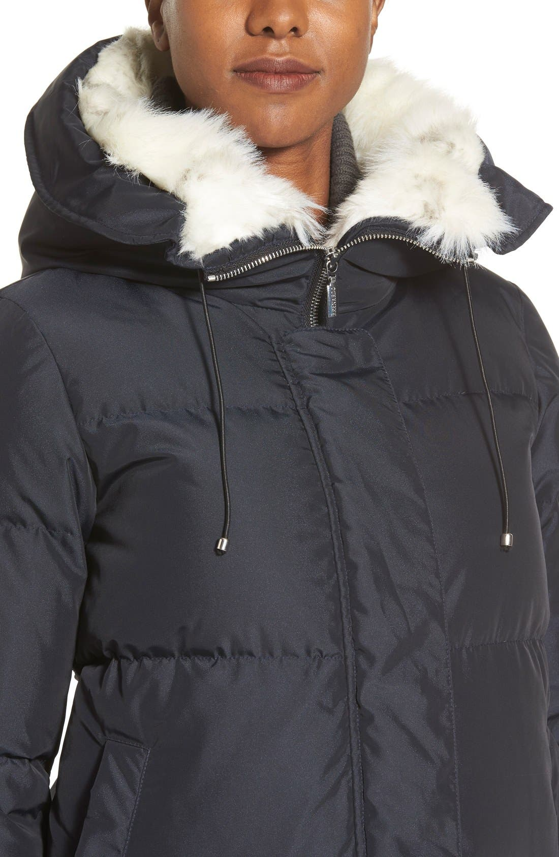 Alternate Image 4  - Bernardo Hooded Down & Feather Fill Parka with Faux Fur Trim