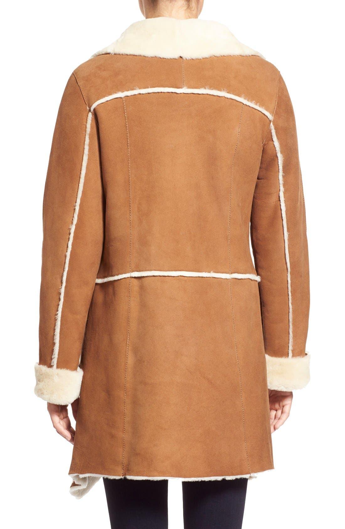 Alternate Image 2  - HiSO Asymmetrical Raw Edge Genuine Shearling Coat