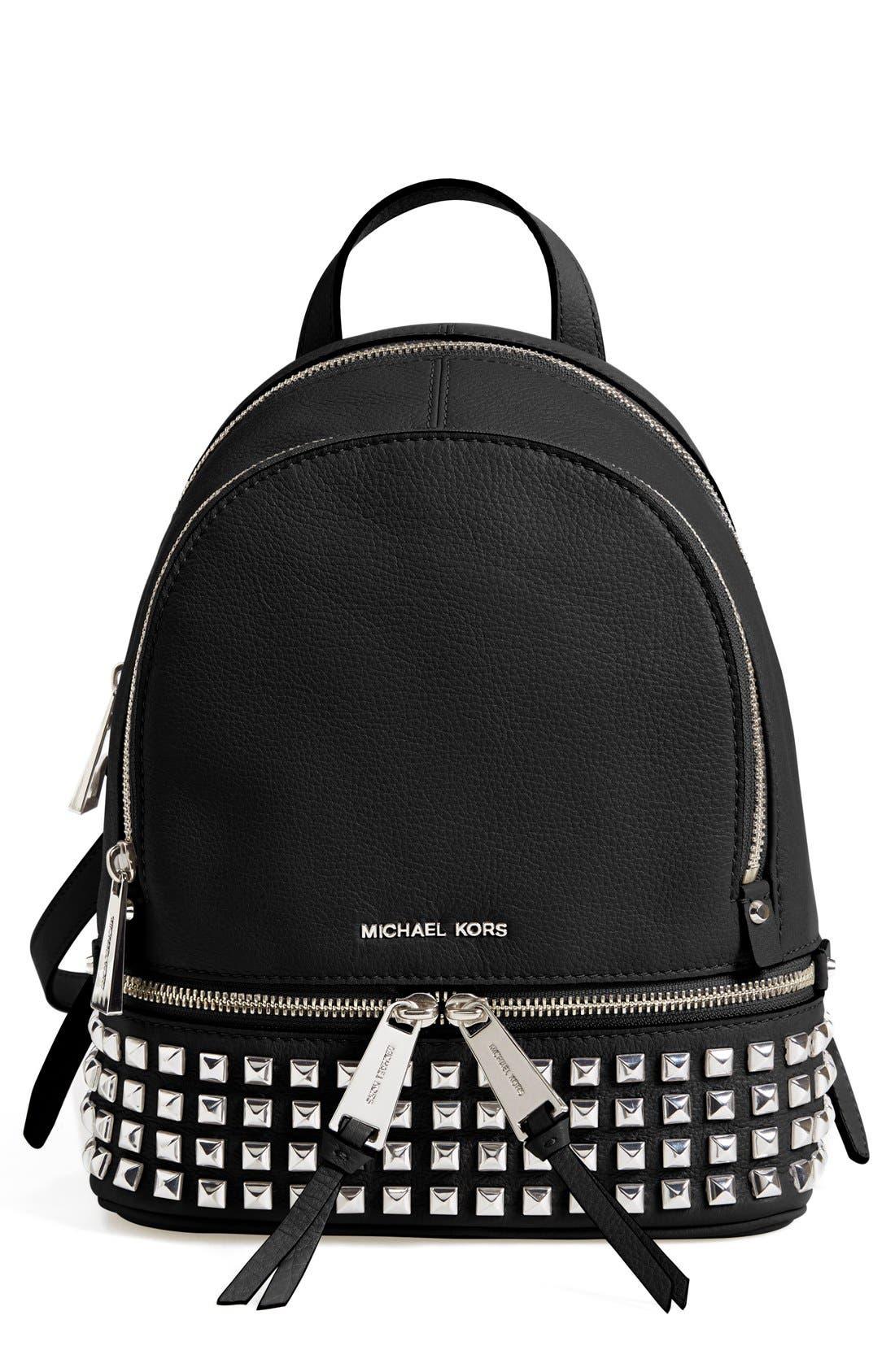 Alternate Image 1 Selected - MICHAEL Michael Kors 'Small Rhea Zip' Studded Backpack