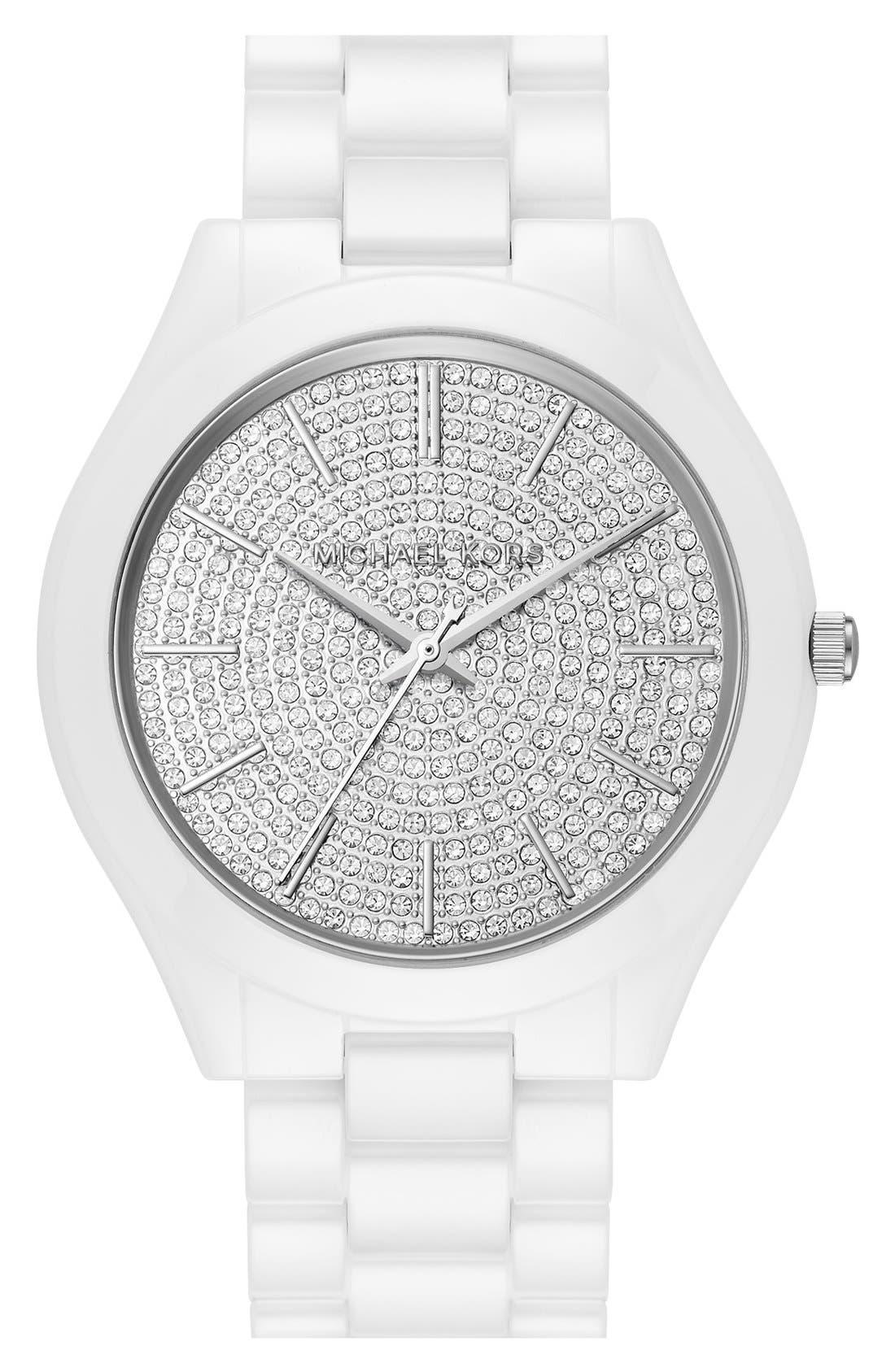 Alternate Image 1 Selected - Michael Kors 'Slim Runway' Pavé Dial Ceramic Bracelet Watch, 42mm