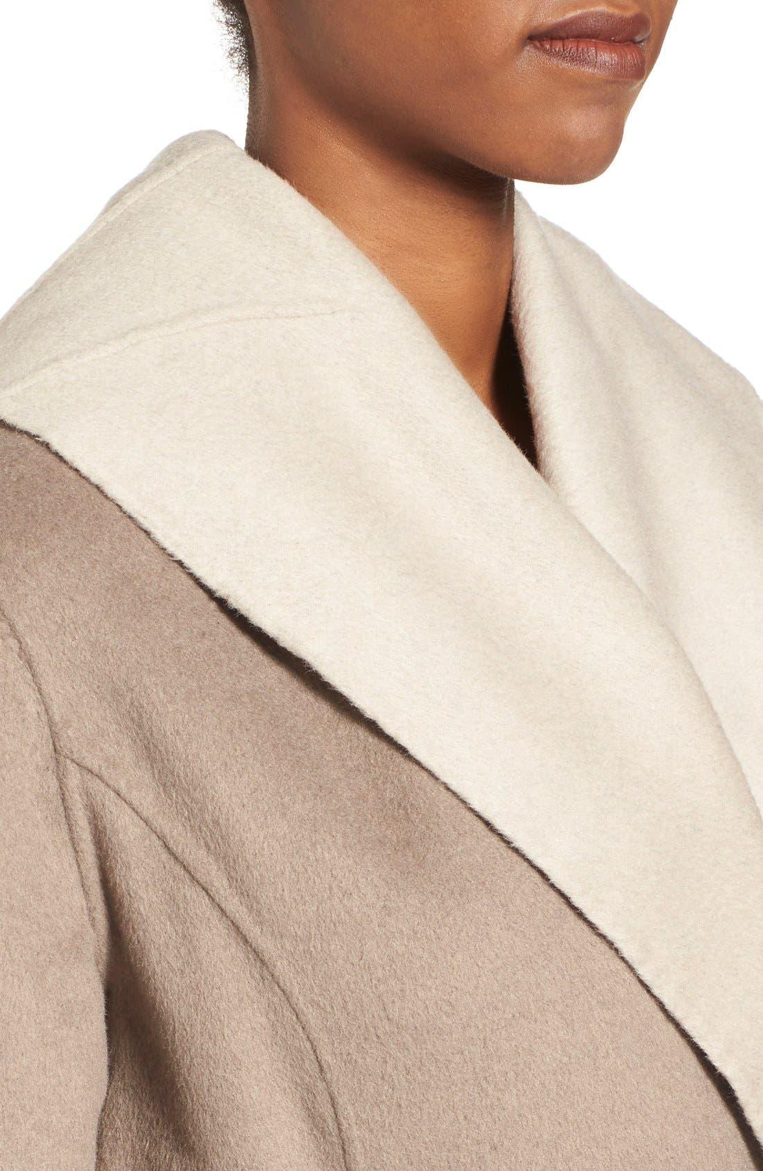 Alternate Image 4  - ElieTahari'Mala' Hooded Wool BlendWrap Coat