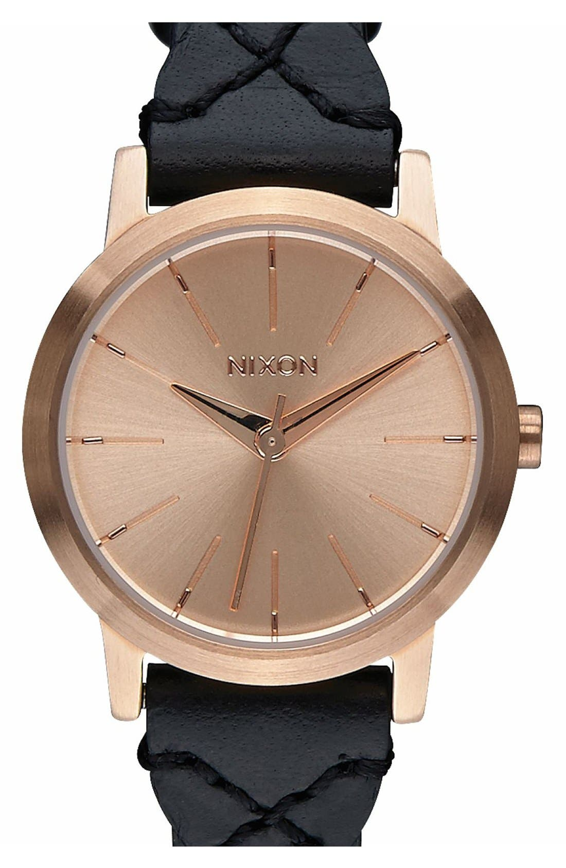 Alternate Image 1 Selected - Nixon 'The Kenzi' Round Leather Strap Watch, 26mm