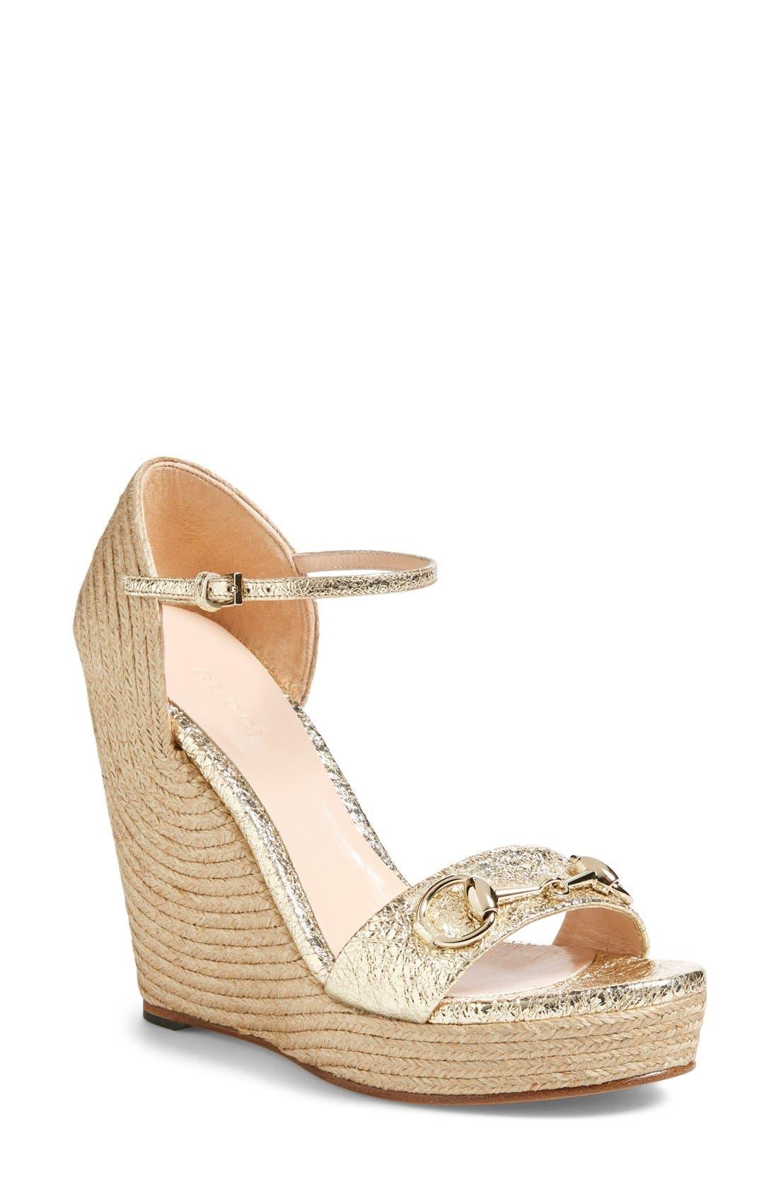 Alternate Image 1 Selected - Gucci 'Carolina' Wedge Sandal (Women)