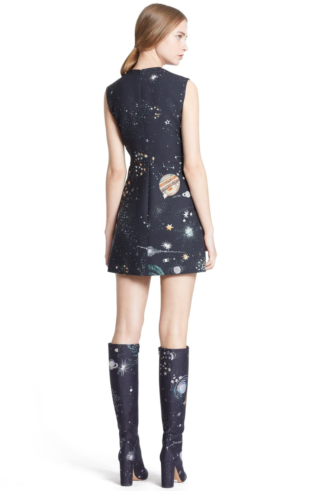 Alternate Image 2  - Valentino Cosmos Print Wool Blend Crepe Shift Dress