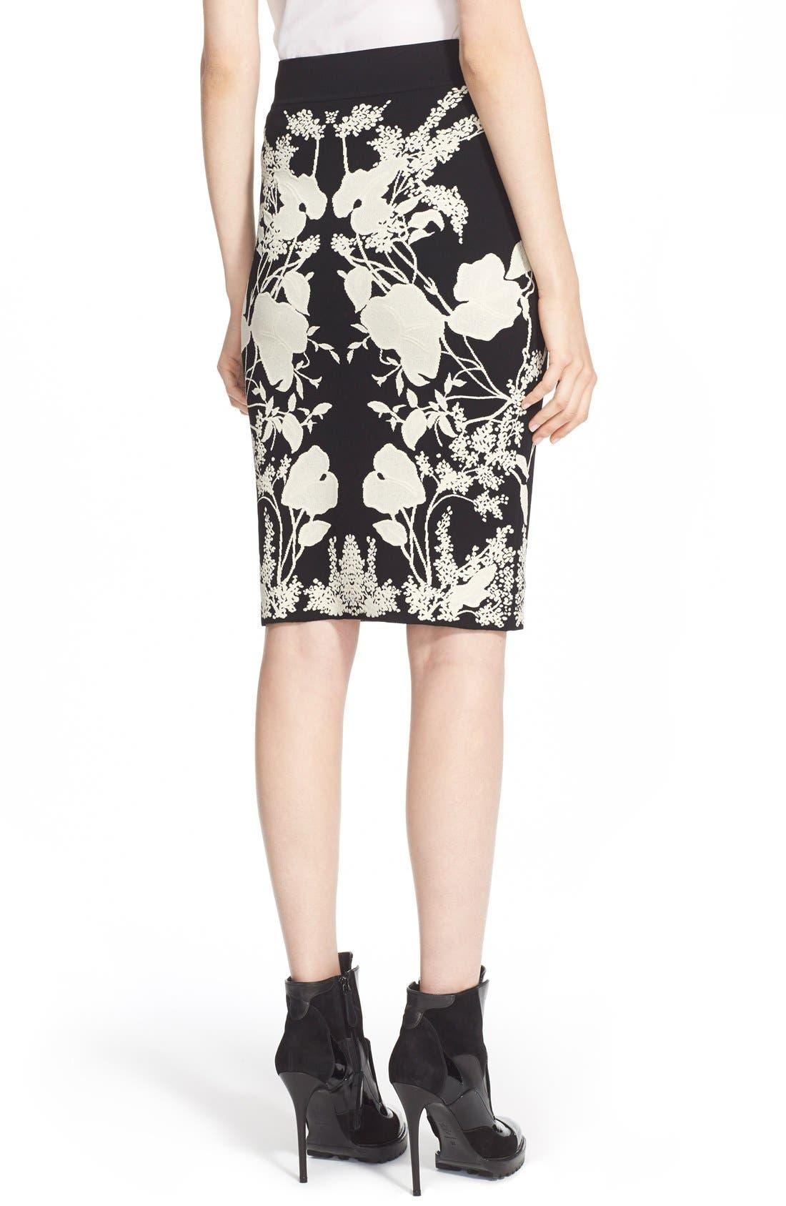 Alternate Image 2  - Alexander McQueen 'Belle Epoque' Floral Pattern Jacquard Pencil Skirt