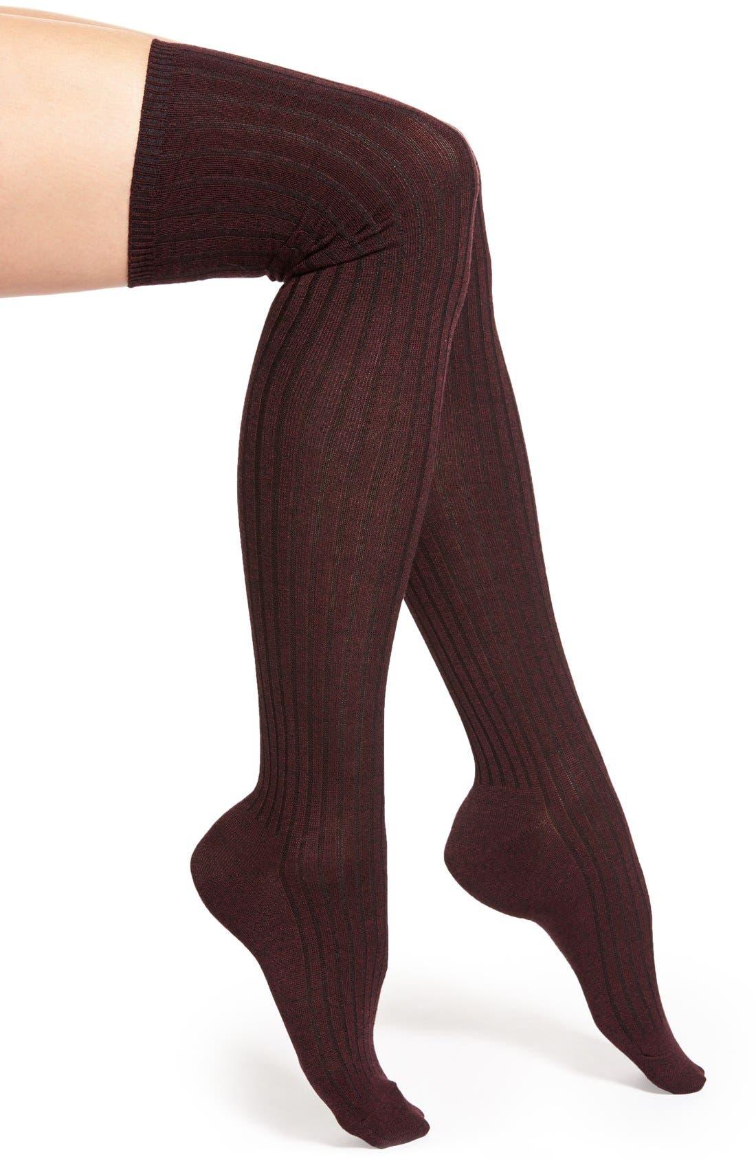 Main Image - Hue Marled Rib Knit Over the Knee Socks