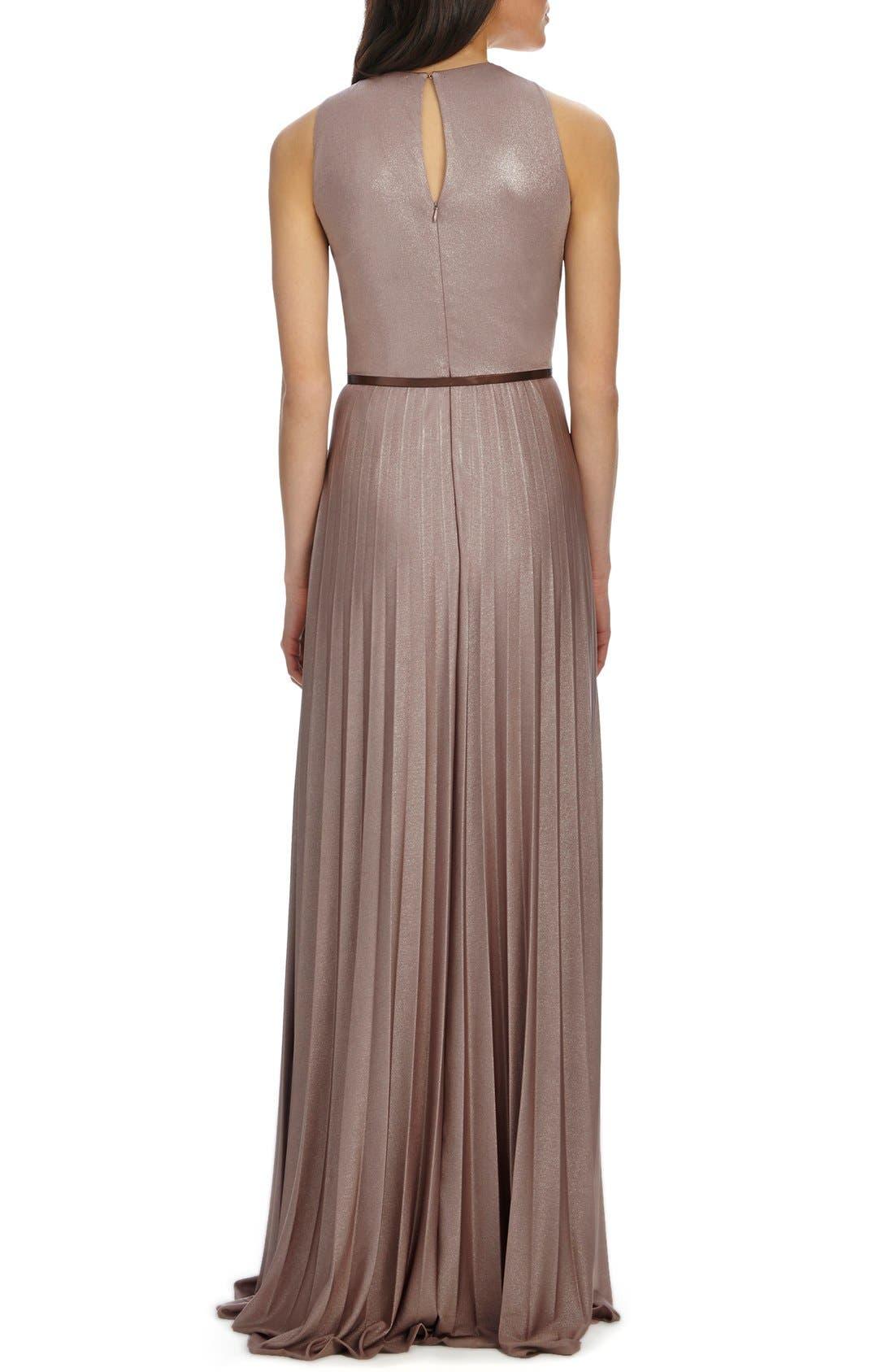 Alternate Image 2  - Donna Morgan Pleat Foil Knit Maxi Dress