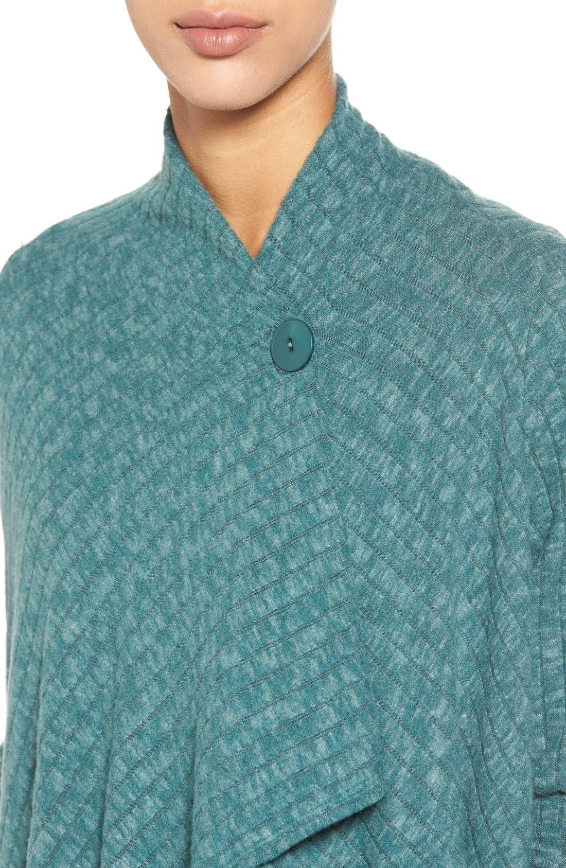 Alternate Image 4  - Bobeau One-Button Fuzzy Fleece Wrap Cardigan (Regular & Petite)