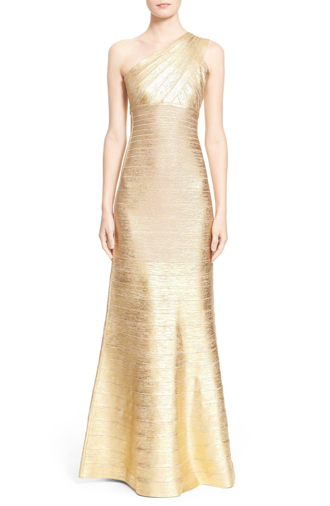 Alternate Image 1  - Herve Leger 'Lilyanna' One-Shoulder Woodgrain Metallic Gown