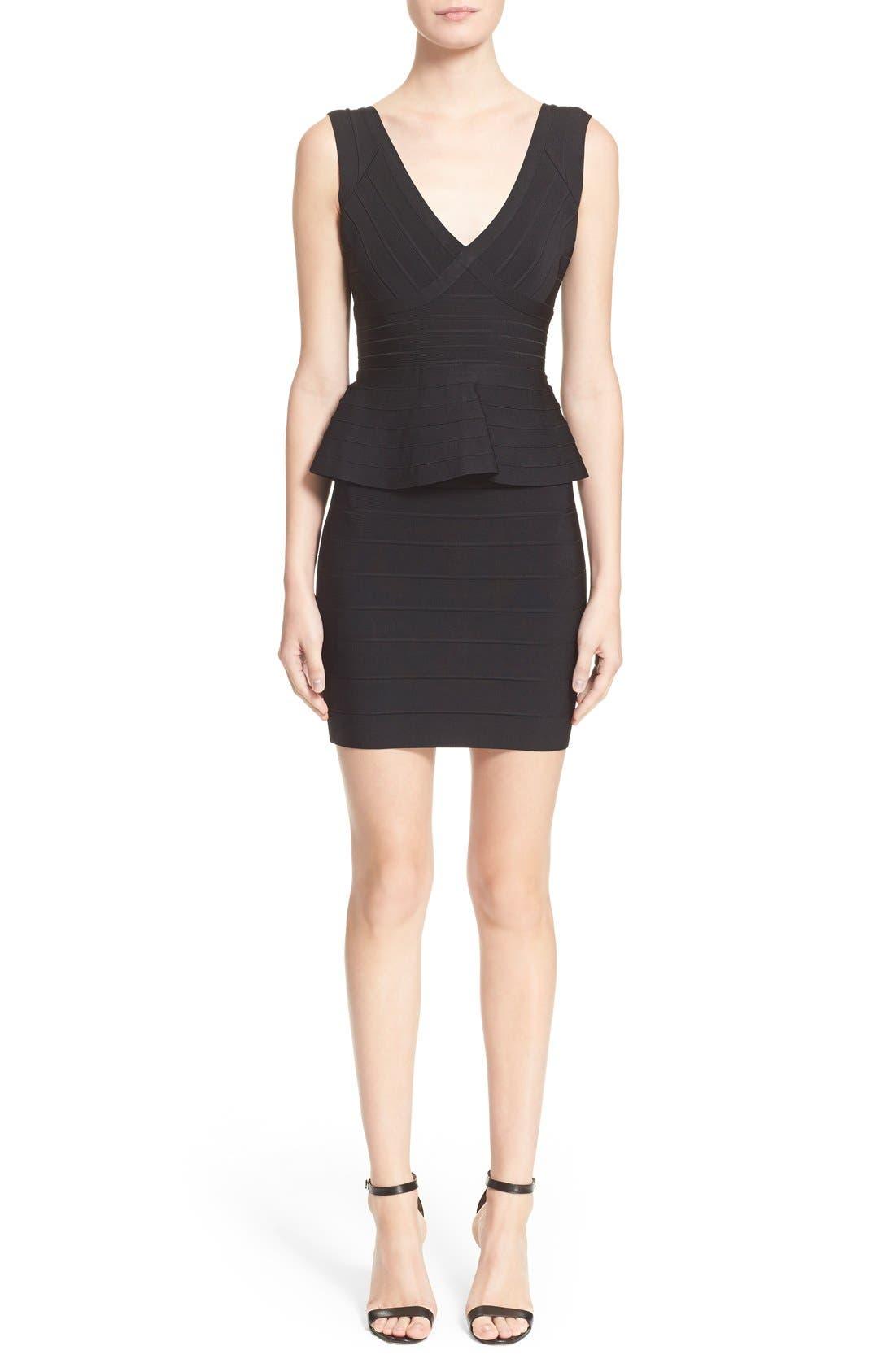 HERVE LEGER Sleeveless V-Neck Peplum Dress