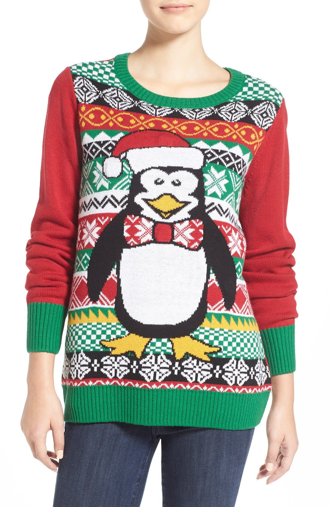 Alternate Image 1 Selected - Ugly Christmas Sweater 'Penguin' Light-Up Fair Isle Knit Sweater