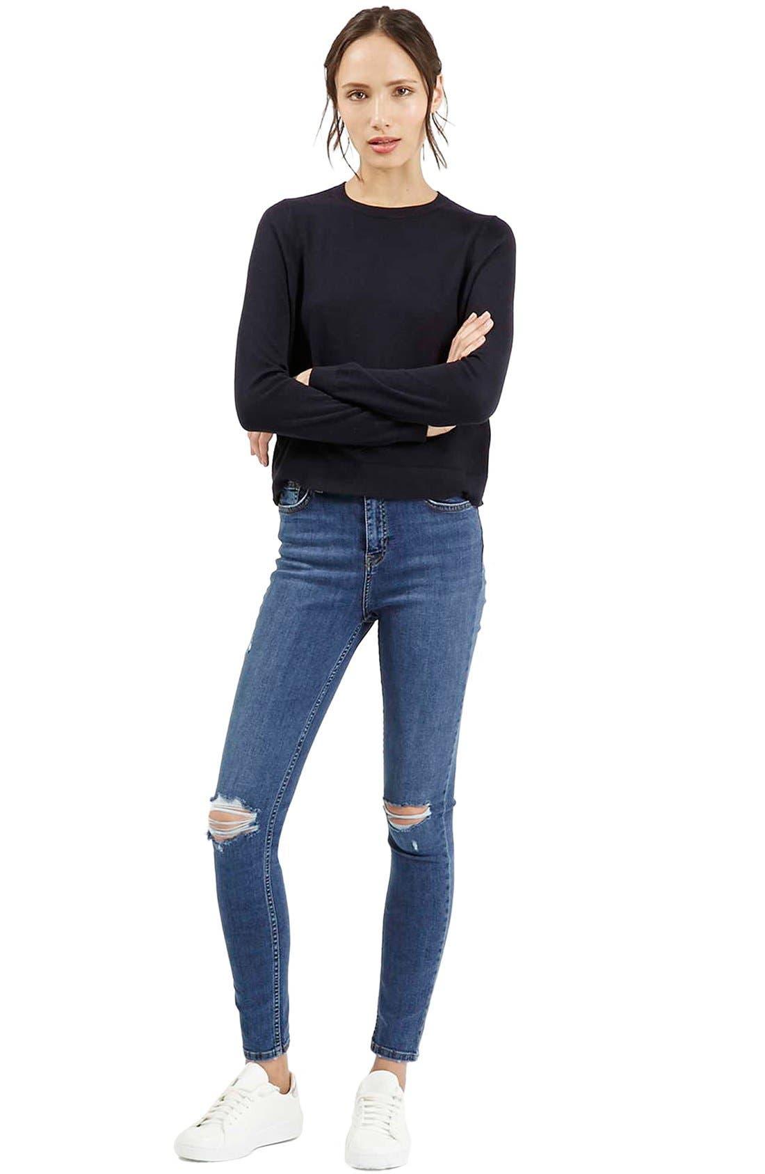 Alternate Image 2  - Topshop Moto 'Jamie' Ripped Ankle Jeans (Mid Denim) (Regular & Short)