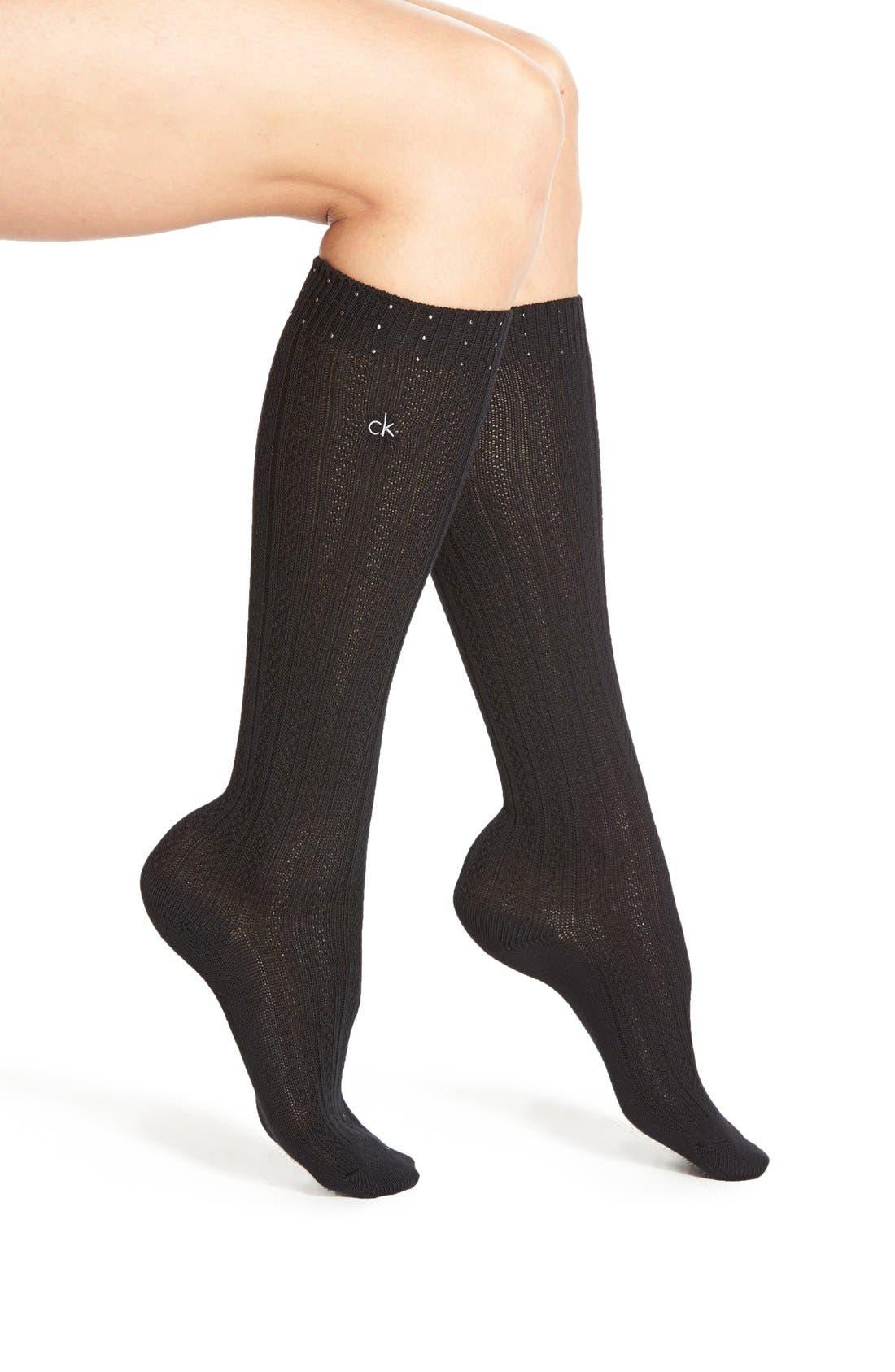 Main Image - Calvin Klein 'Holiday Sparkle' Knee High Socks